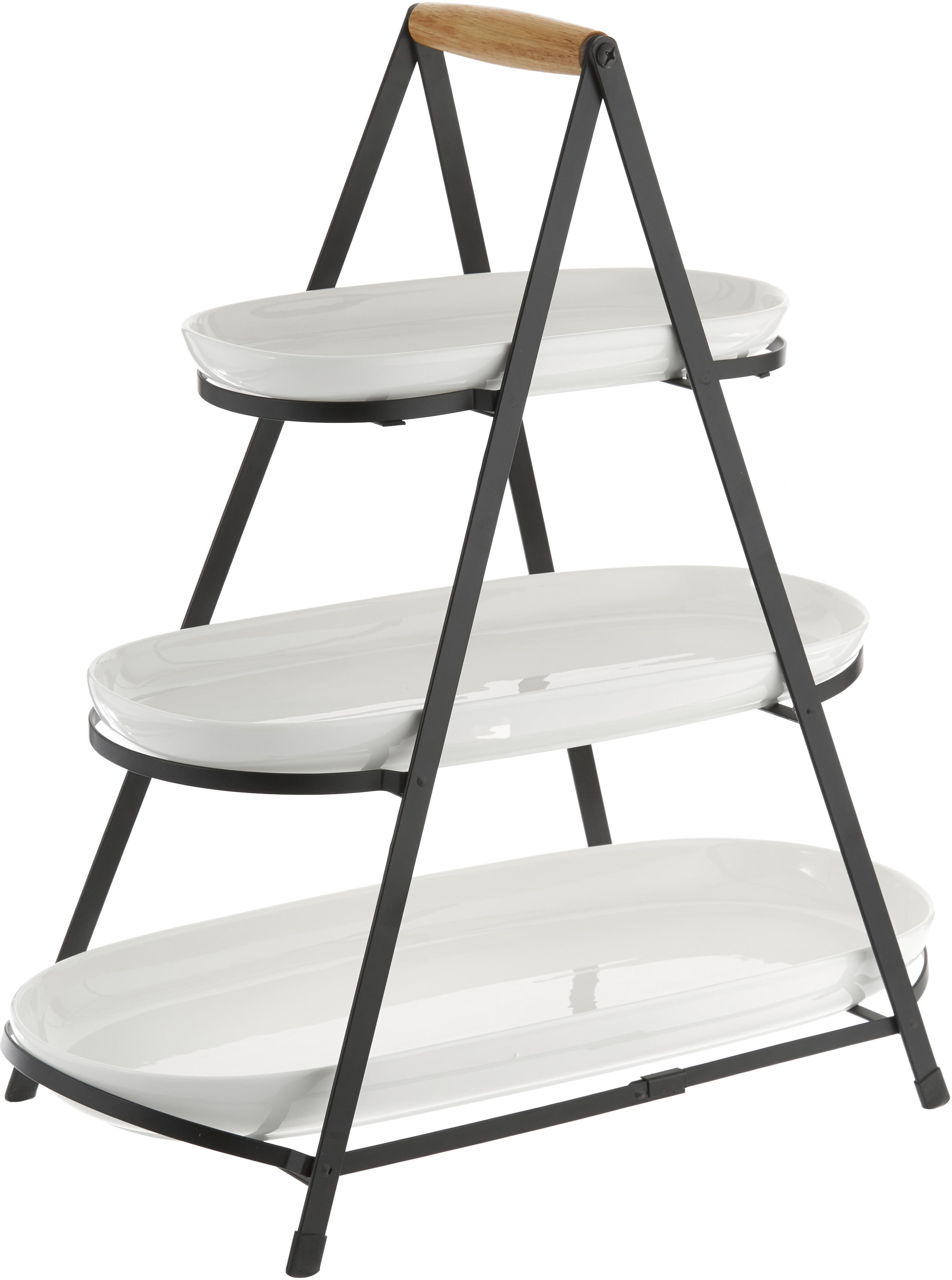 Etagere con ripiani estraibili Tower, Ripiani: porcellana, Struttura: metallo, Manico: legno, Bianco, nero, legno, Larg. 50 x Alt. 55 cm
