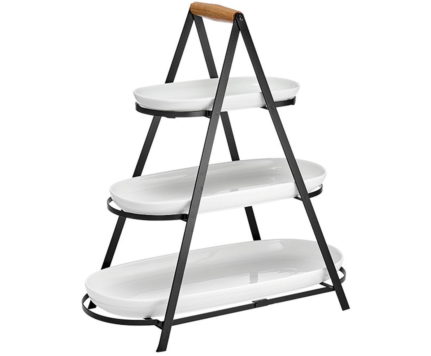 Etagere Tower mit abnehmbaren Ablageflächen, Gestell: Metall, Griff: Holz, Weiß, Schwarz, Holz, B 50 x H 55 cm