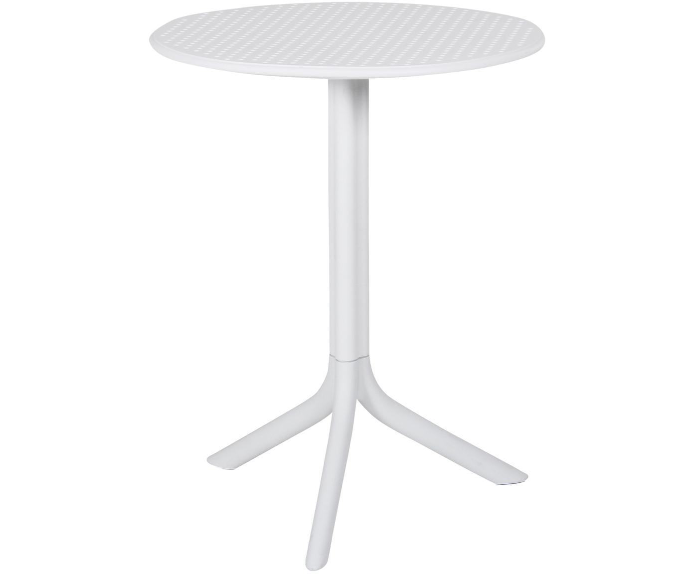 Tavolino rotondo regolabile in altezza Step, Plastica, fibra di vetro rinforzata, Bianco opaco, Ø 60 x Alt. 75 cm