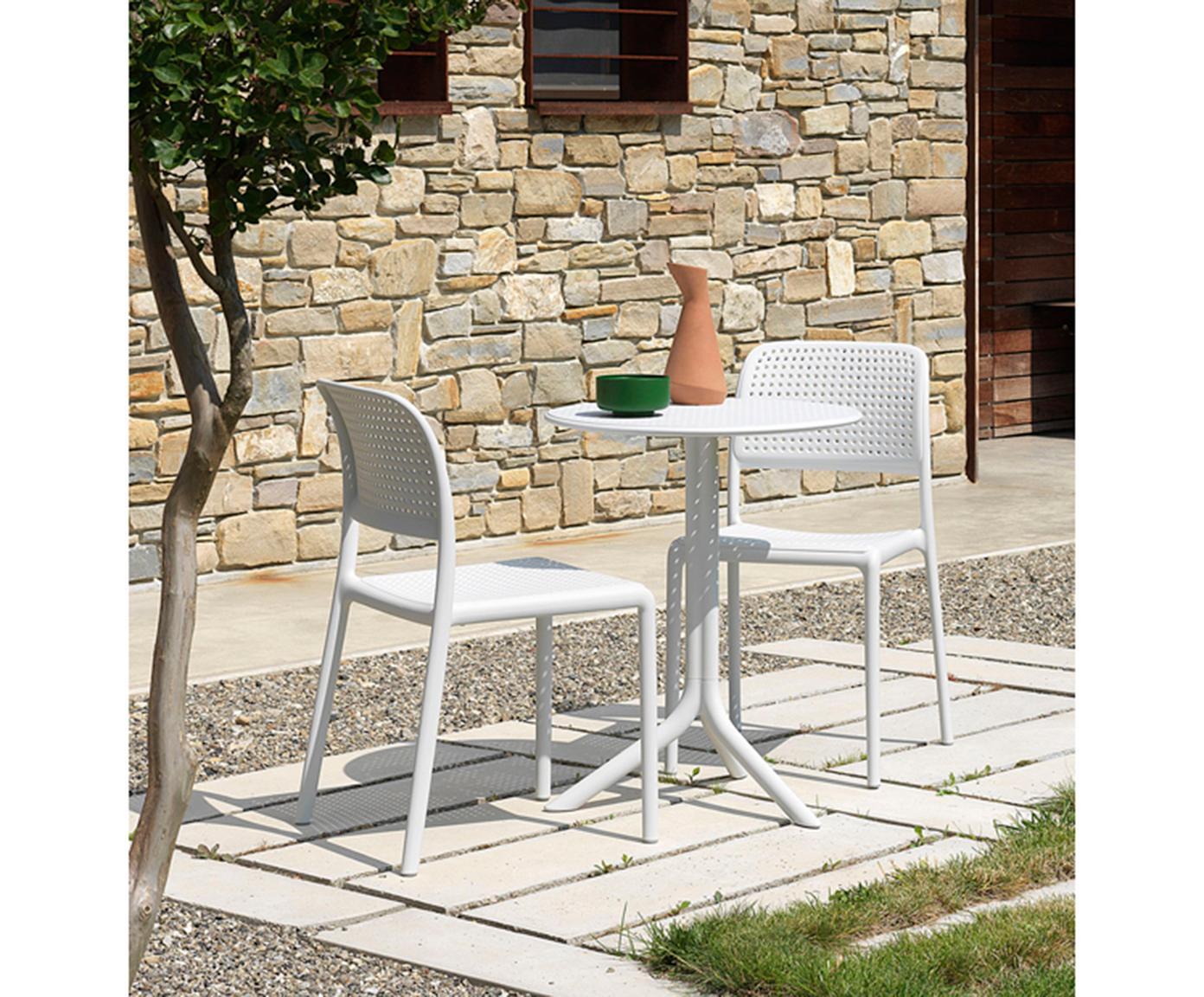 Bijzettafel Step, Met glasvezel versterkte kunststof, Mat wit, Ø 60 x H 75 cm