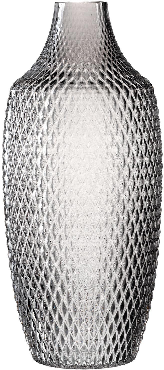 Jarrón grande de vidrio Poesia, Vaso, Gris, Ø 17 x Al 40 cm
