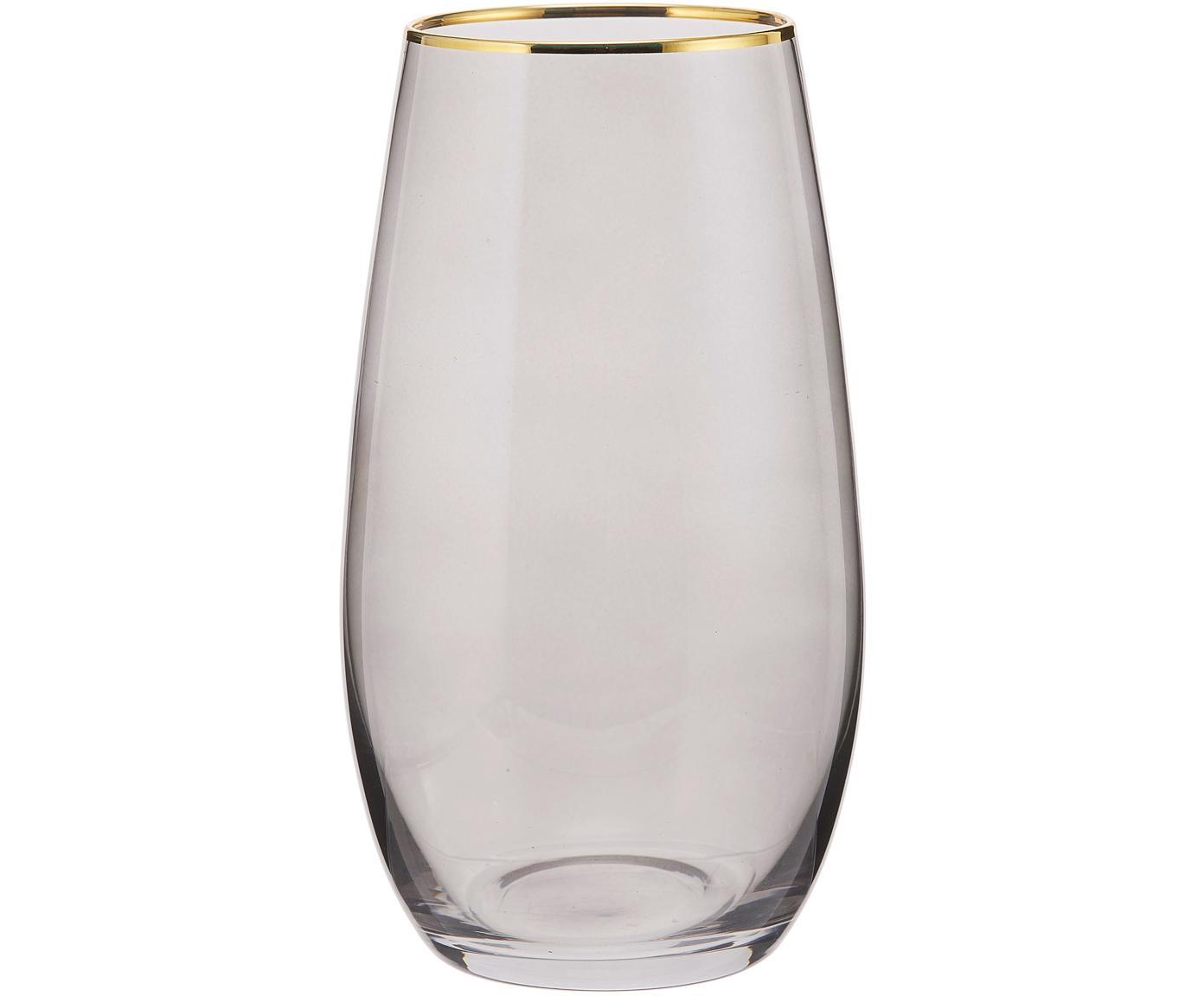 Waterglazen Chloe, 4 stuks, Glas, Grijsblauw, Ø 9 x H 16 cm