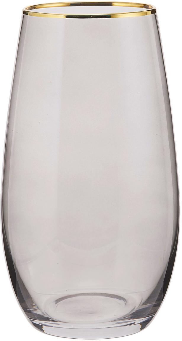 Hohe Wassergläser Chloe in Graublau mit Goldrand, 4er-Set, Glas, Graublau, Ø 9 x H 16 cm