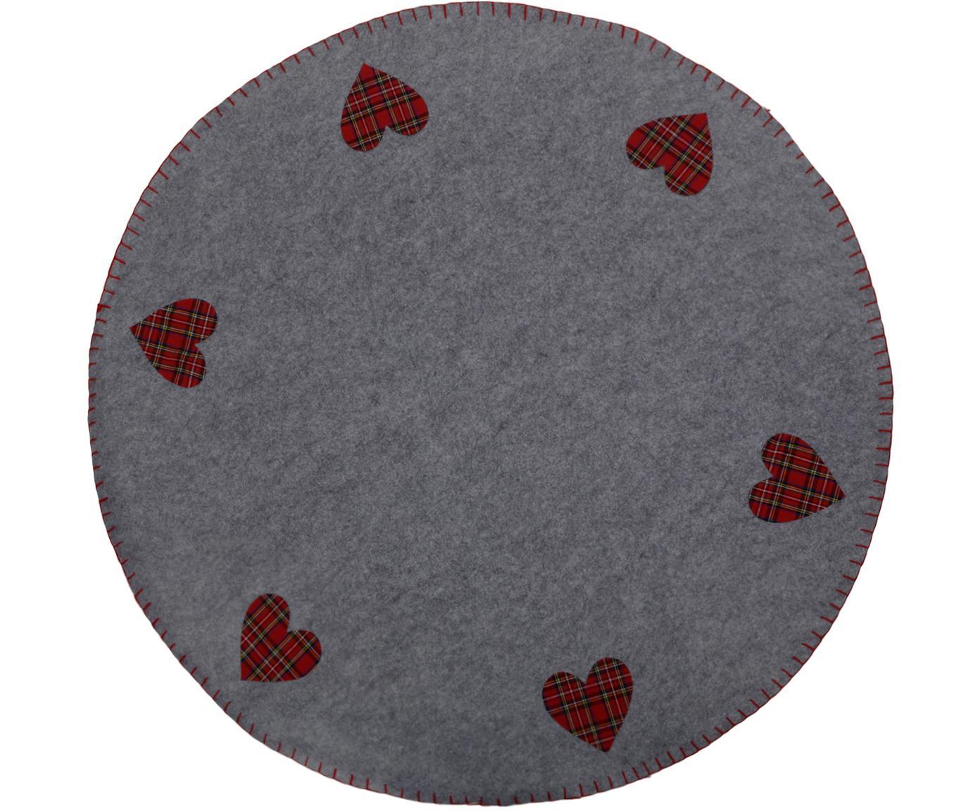 Weihnachtsbaumdecke Heart, Filz, Grau, Rot, Schwarz, Weiss, Gelb, Ø 100 cm
