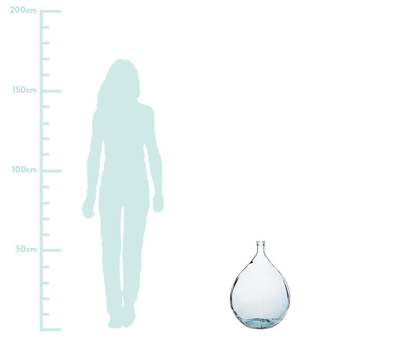 Vloervaas Drop van gerecycled glas, Gerecycled glas, Blauw, Ø 40 x H 56 cm