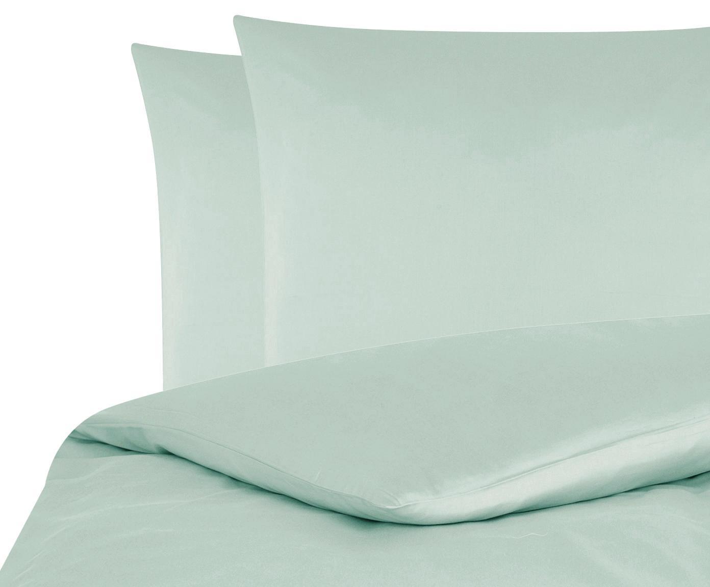 Parure copripiumino in raso di cotone Comfort, Verde salvia, 255 x 200 cm