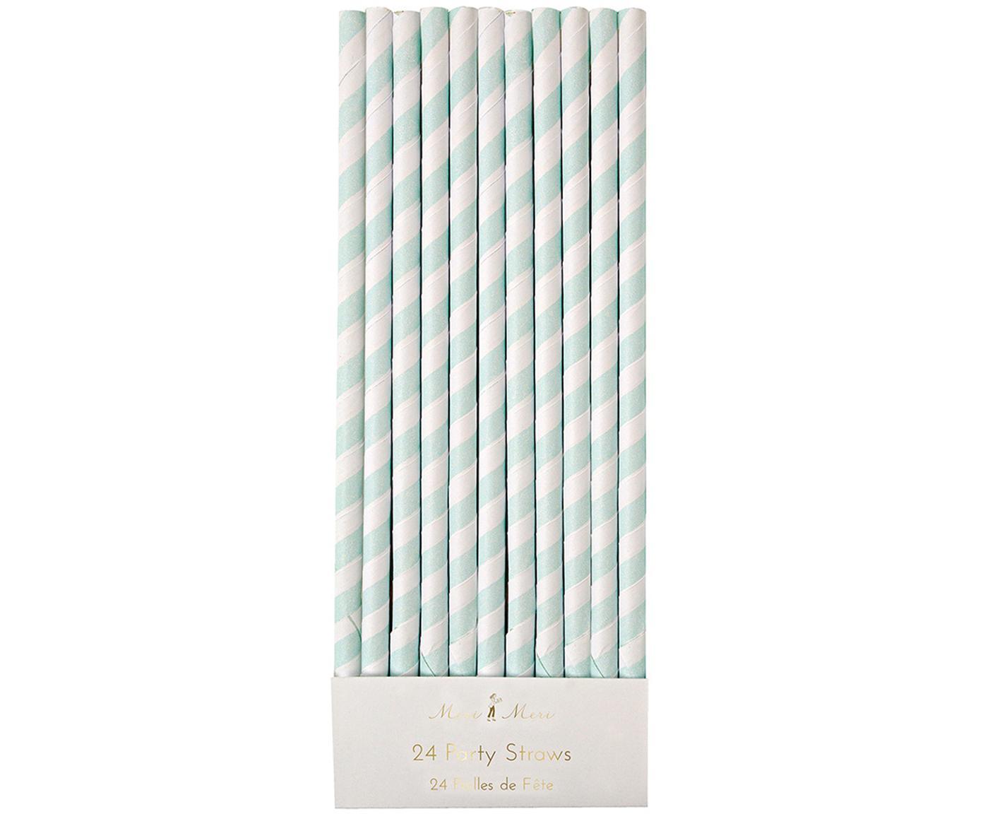 Strohhalme Agni, 24 Stück, Papier, Weiß, Mintgrün, Ø 1 x H 20 cm