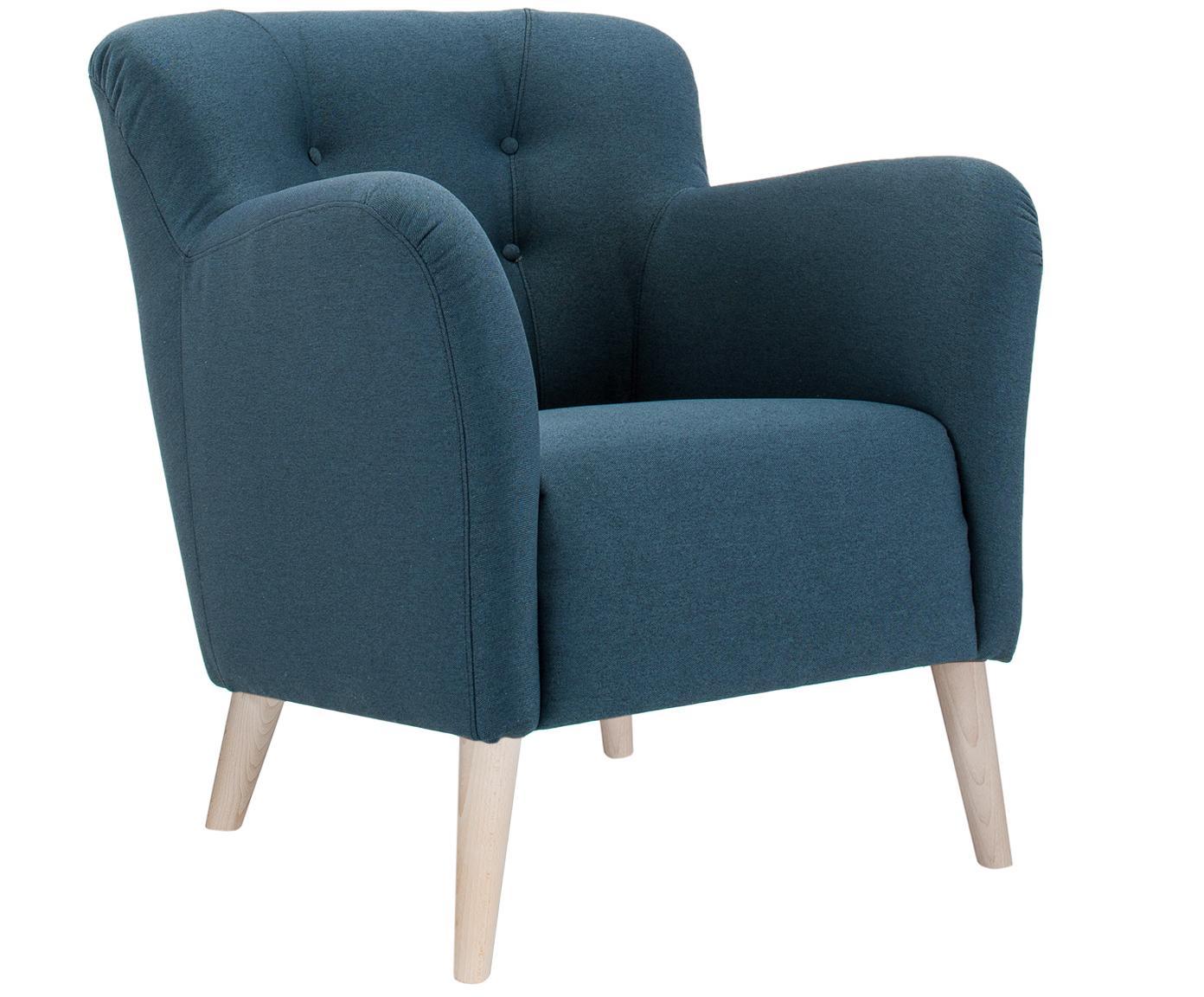 Fauteuil Vitro, Frame: Hout, Poten: Beukenhout, Hoes: Blauw. Poten: Beukenhout, wit gewassen, 75 x 84 cm