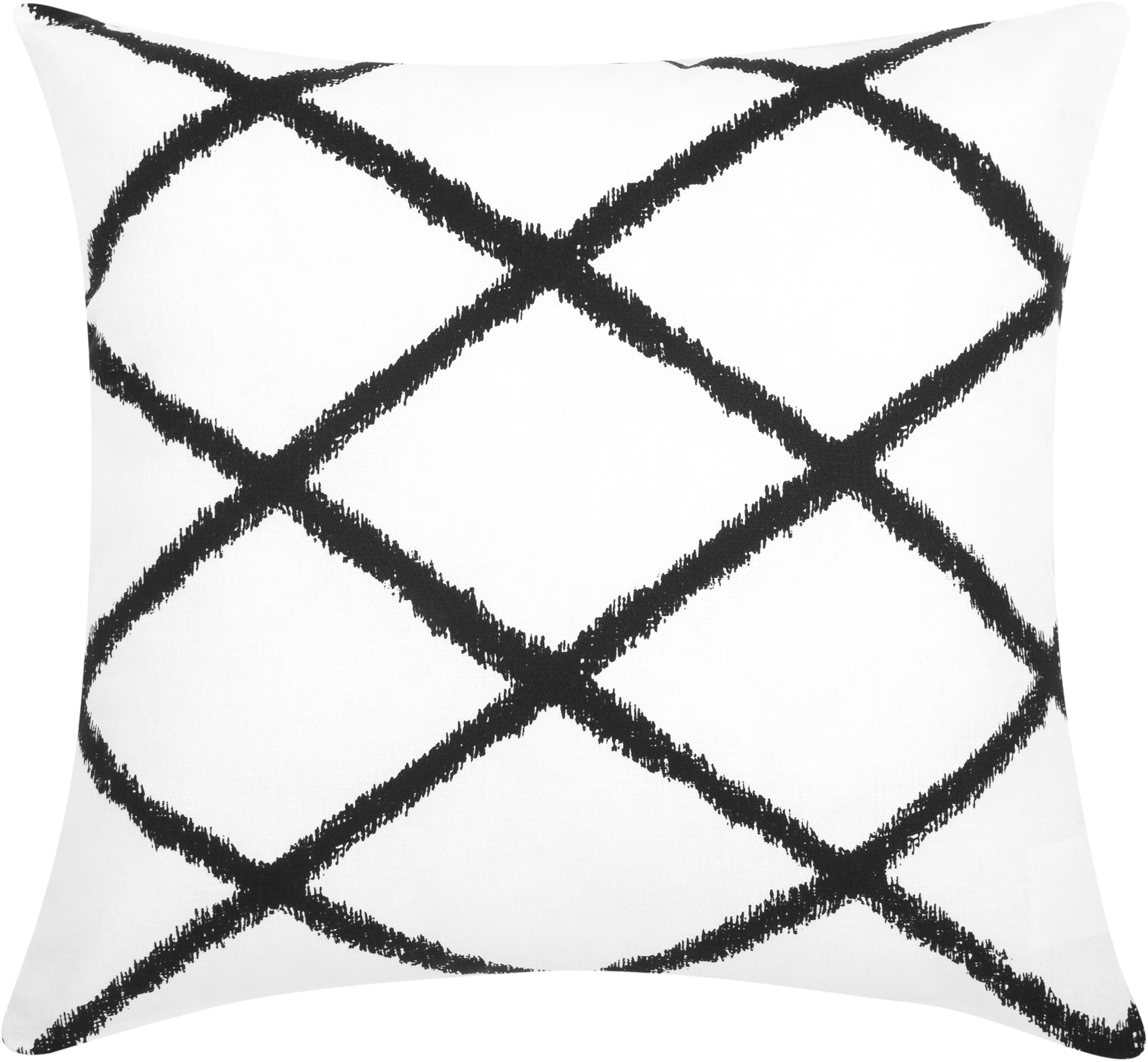 Kissenhülle Laila mit Rautenmuster, 100% Baumwolle, Weiss, Schwarz, 45 x 45 cm