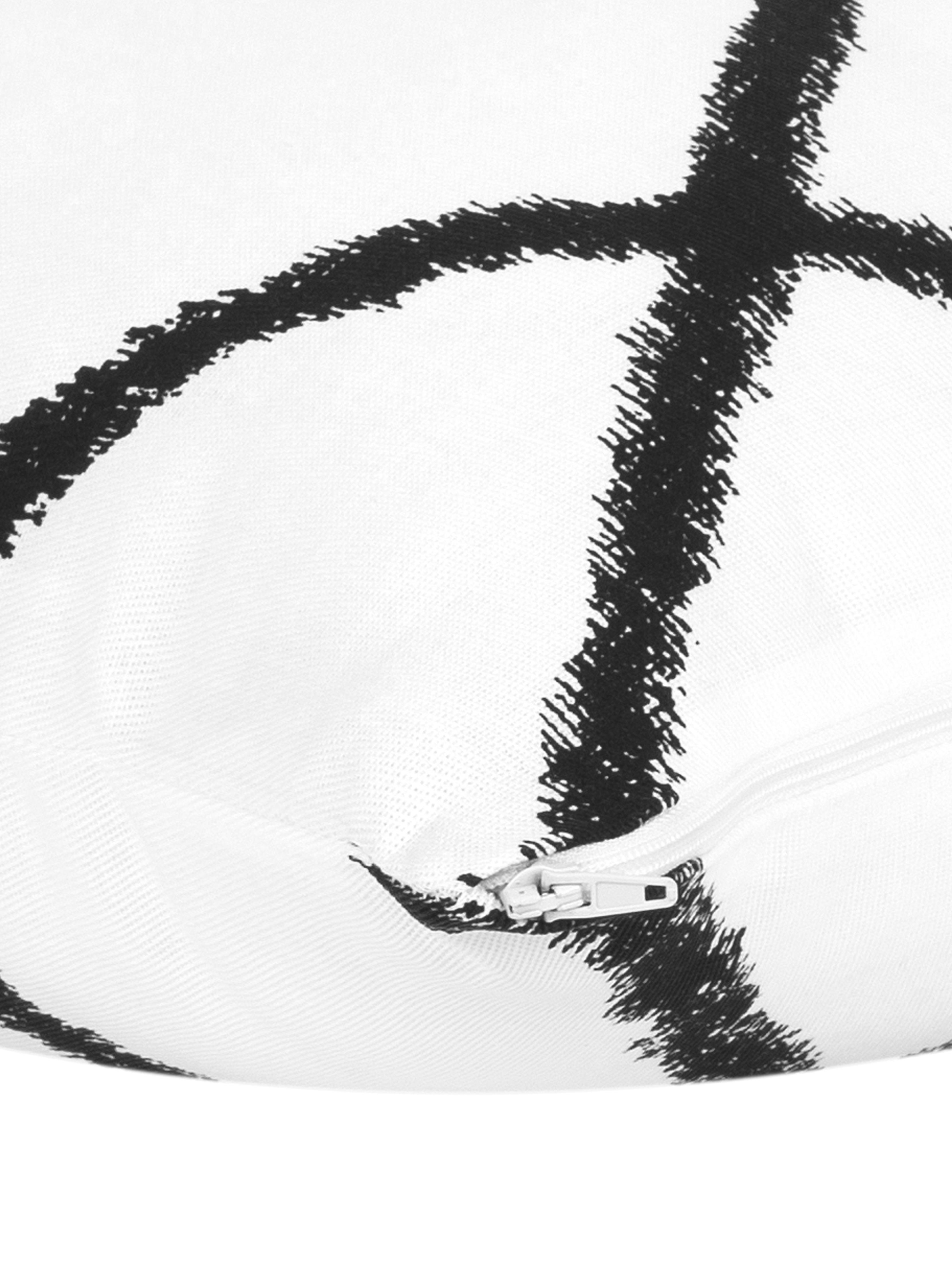 Federa arredo  Laila, Cotone, Bianco, nero, Larg. 45 x Lung. 45 cm