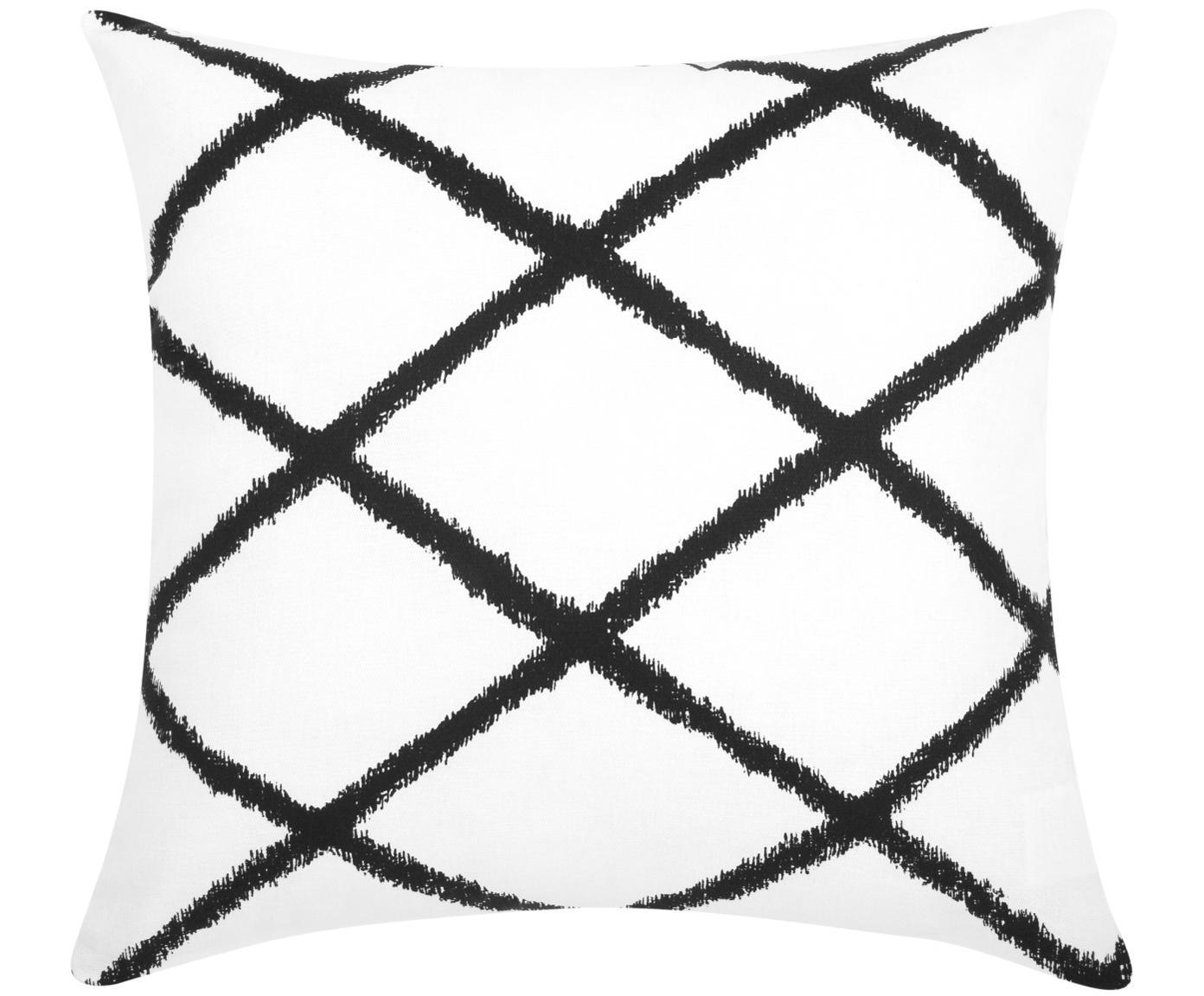 Kussenhoes Laila, 100% katoen, Wit, zwart, 45 x 45 cm