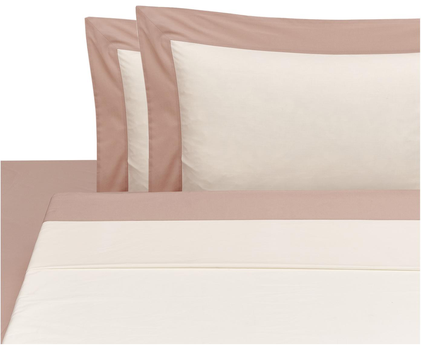 Set lenzuola in percalle Plein 4 pz, Rosa, bianco latteo, 260 x 295 cm