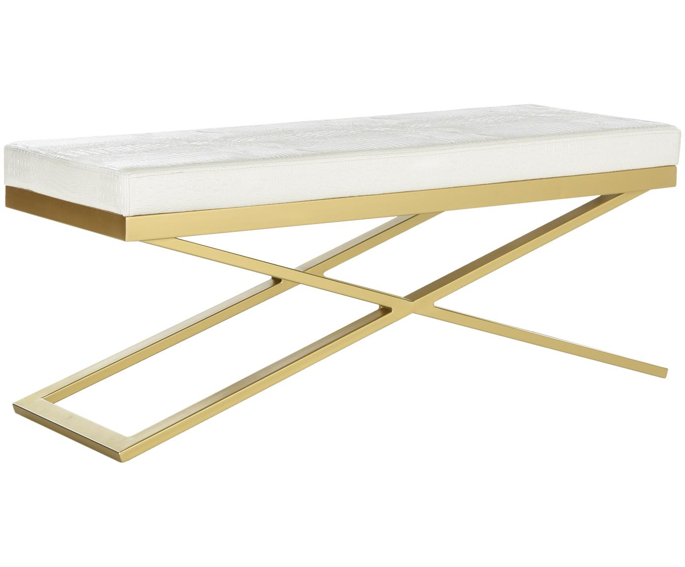 Banco de cuero sintético Susan, Estructura: acero, pintado, Tapizado: cuero sintético (poliuret, Blanco, dorado, An 109 x Al 46 cm