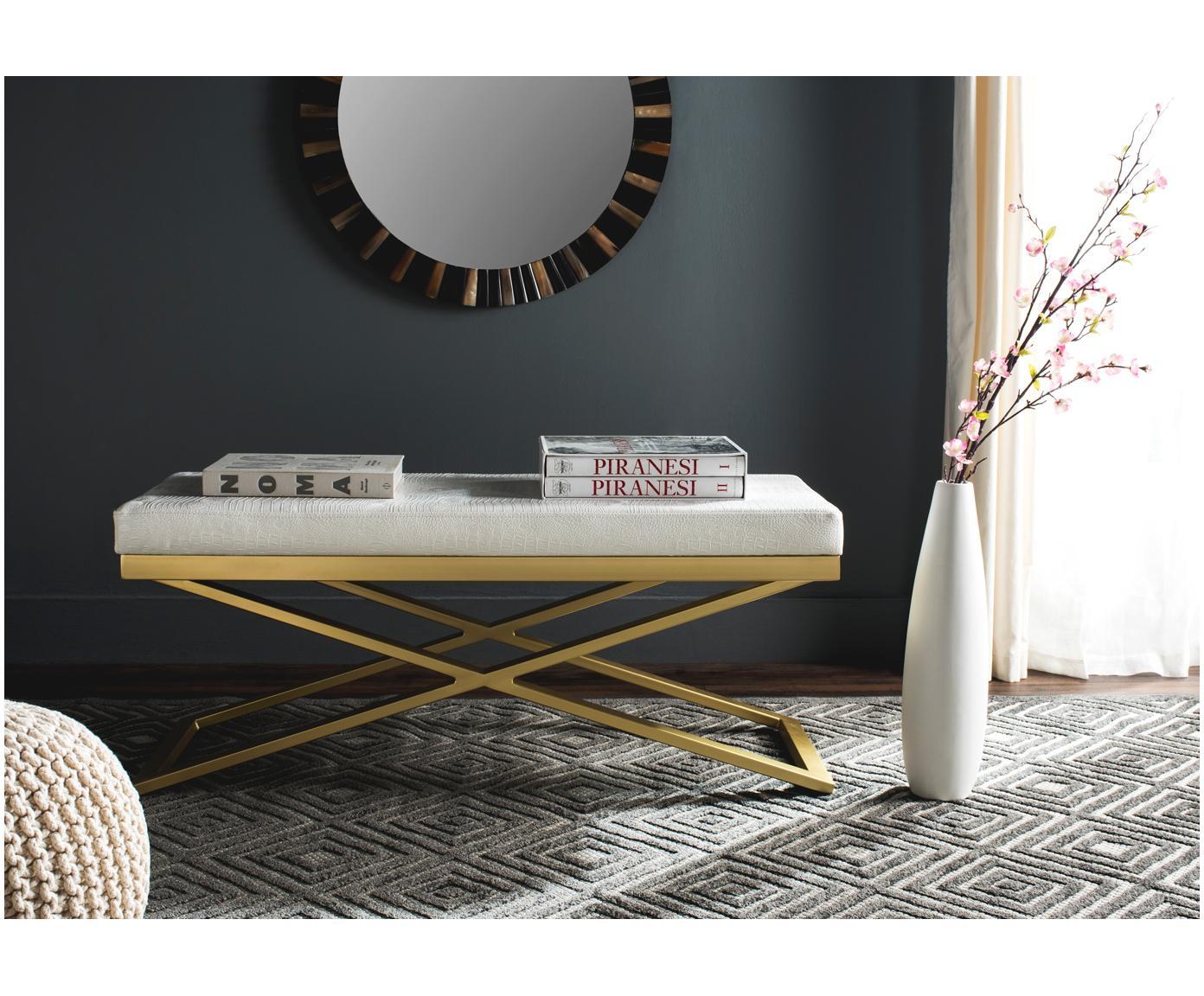 Bank Susan met kunstleer, Frame: gelakt staal, Bekleding: kunstleer (polyurethaan) , Wit, goudkleurig, 109 x 46 cm