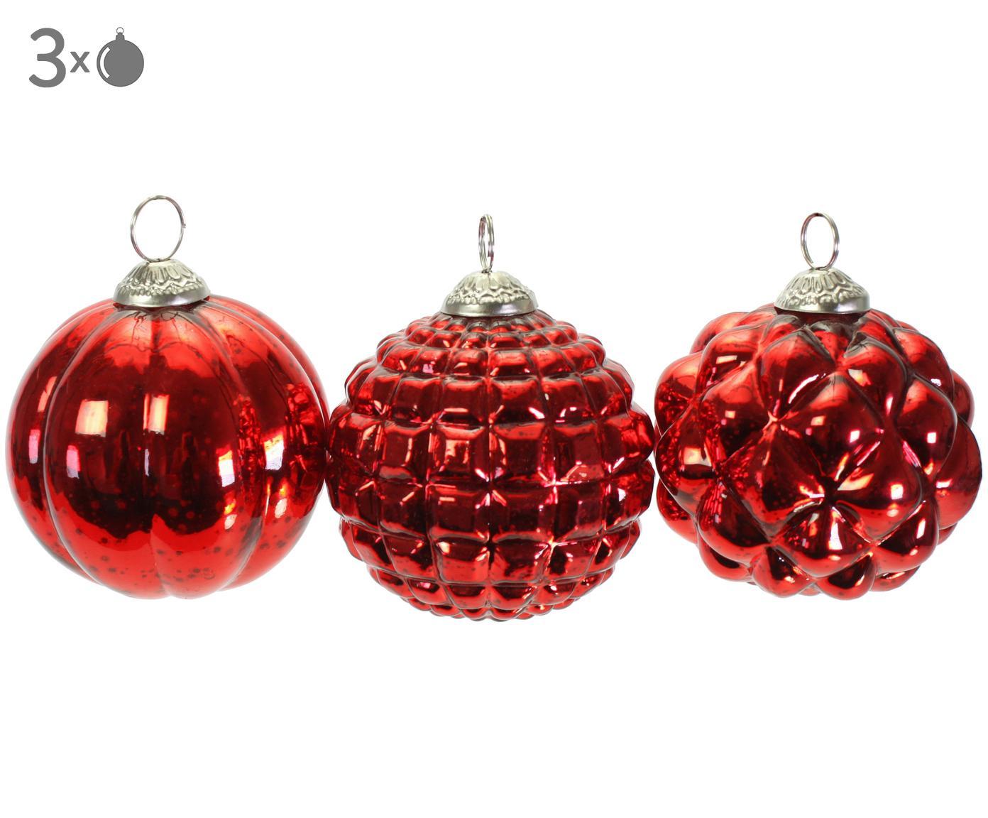 Kerstballenset Red Variety, 3-delig, Gelakt glas, Rood, Ø 10 cm