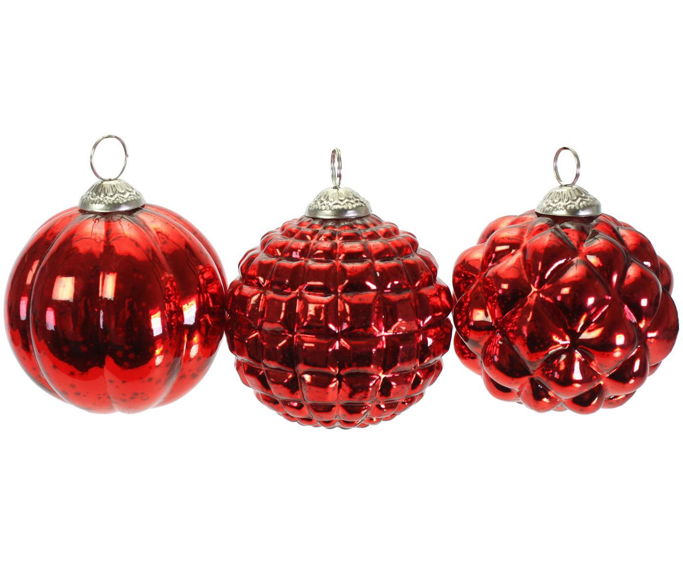 Weihnachtskugel-Set Red Variety Ø10cm, 3-tlg., Glas, lackiert, Rot, Ø 10 cm