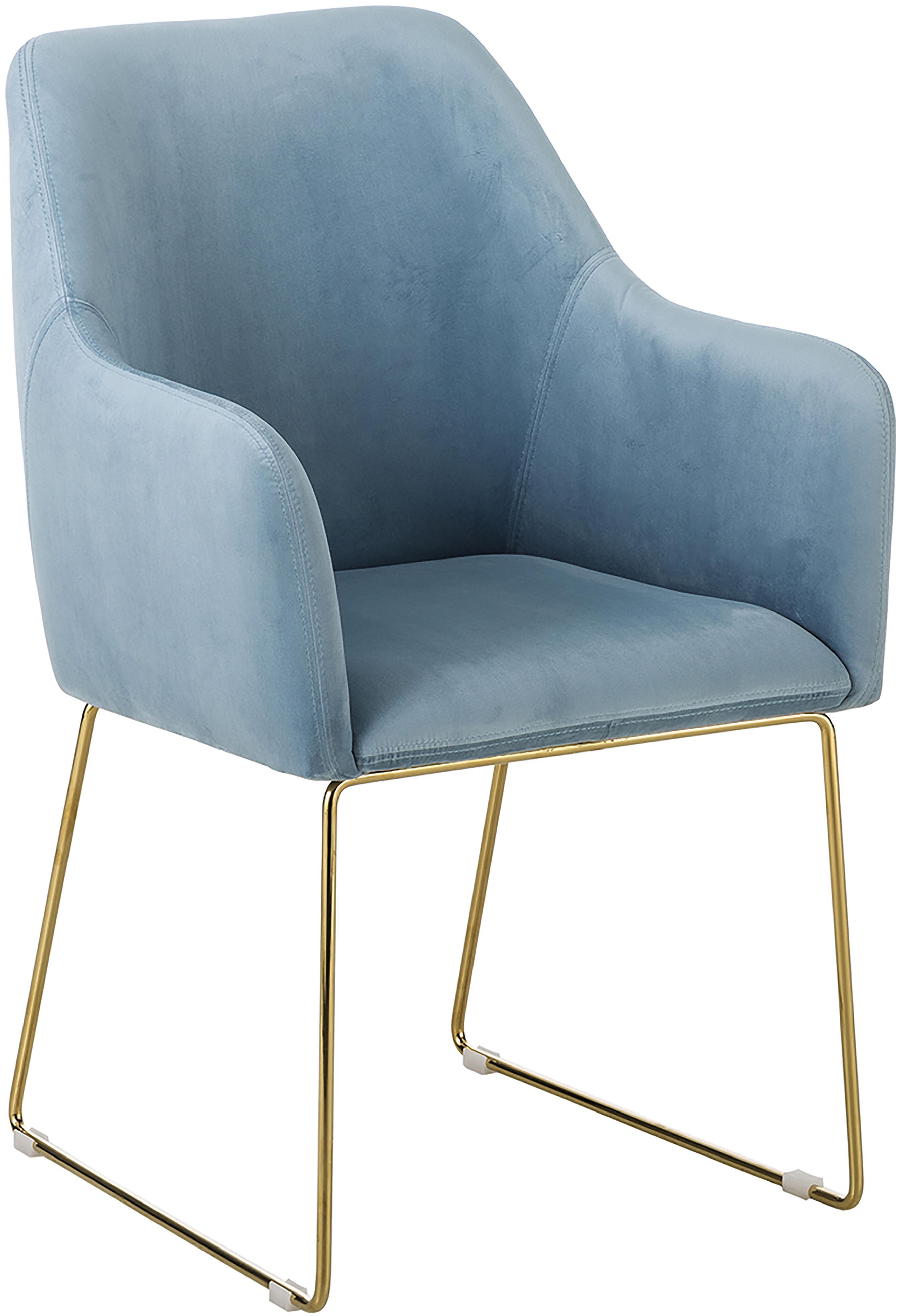 Sedia in velluto con braccioli Isla, Rivestimento: velluto (poliestere) 50.0, Gambe: metallo, rivestito, Velluto azzurro, gambe oro, Larg. 58 x Prof. 62 cm