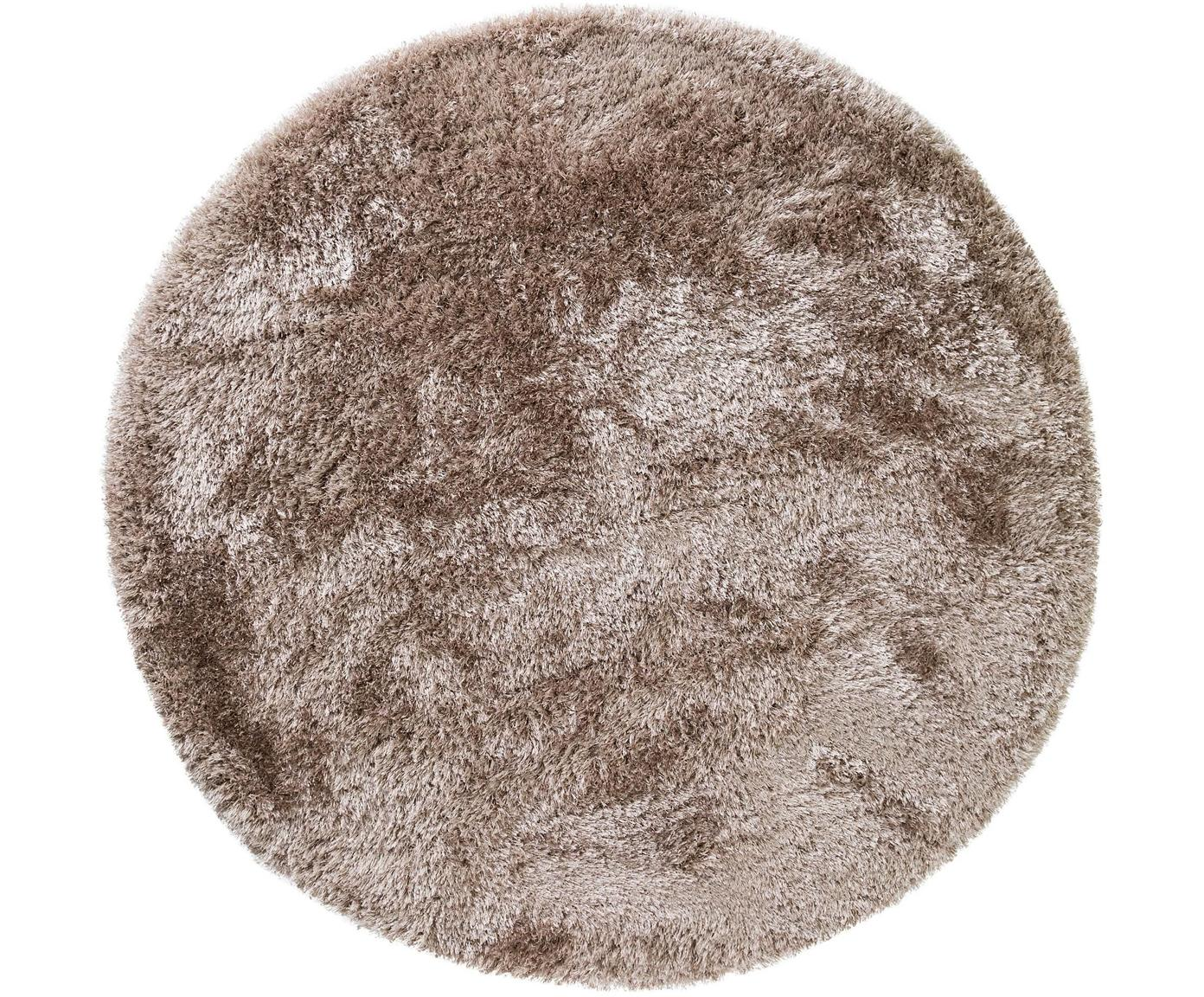 Glänzender Hochflor-Teppich Lea in Beige, rund, Flor: 50% Polyester, 50% Polypr, Beige, Ø 120 cm (Größe S)