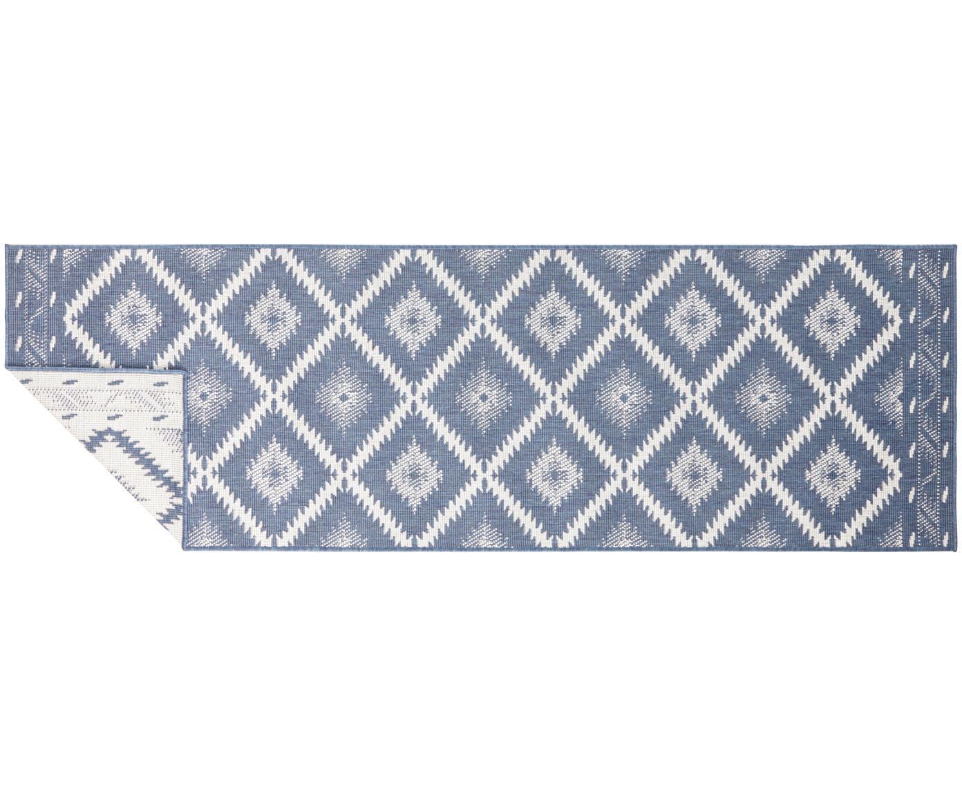 In- und Outdoor-Wendeläufer Malibu in Blau/Creme, Blau, Creme, 80 x 250 cm