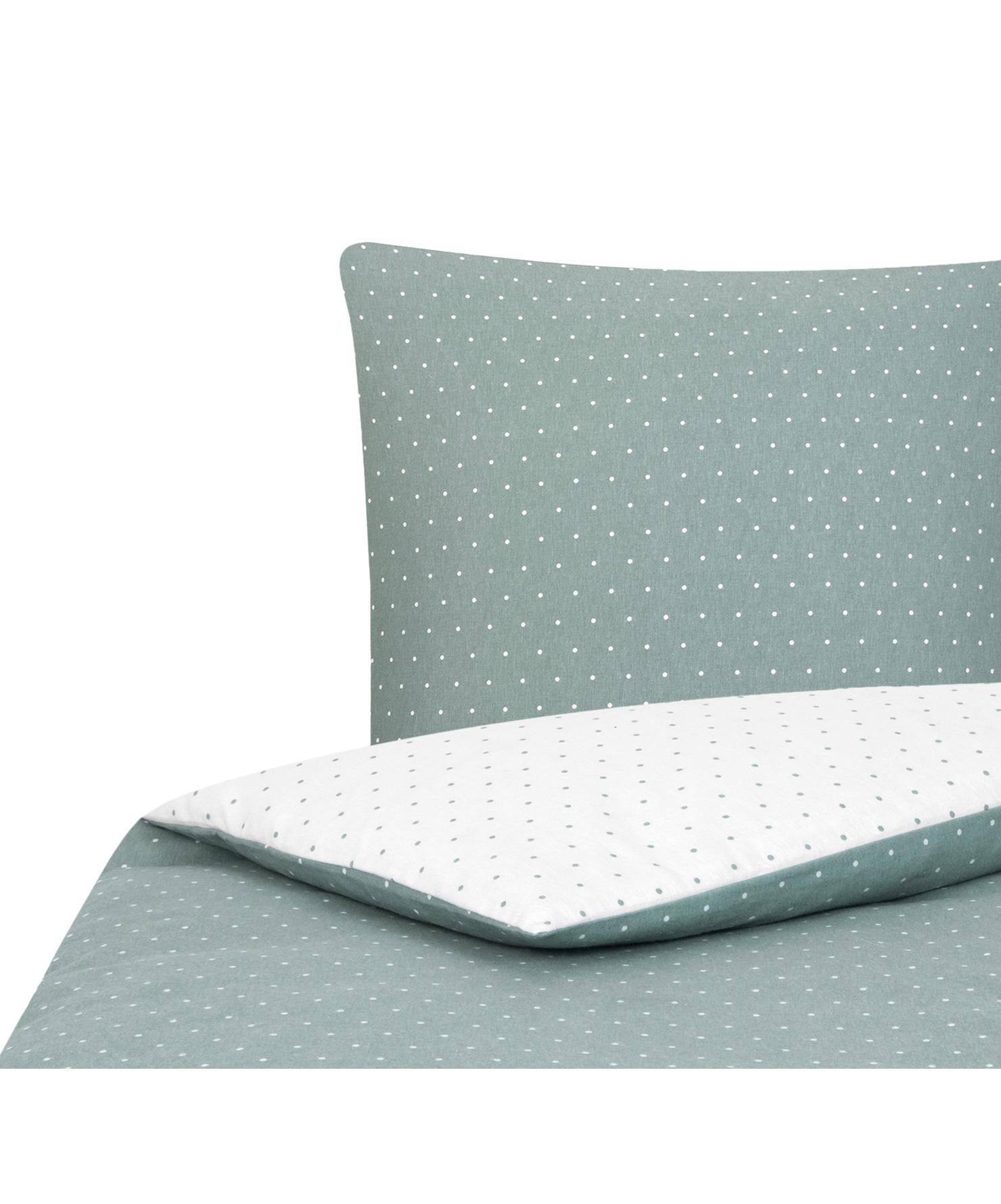 Flanell-Wendebettwäsche Betty, gepunktet, Webart: Flanell Flanell ist ein s, Salbeigrün, Weiß, 135 x 200 cm + 1 Kissen 80 x 80 cm