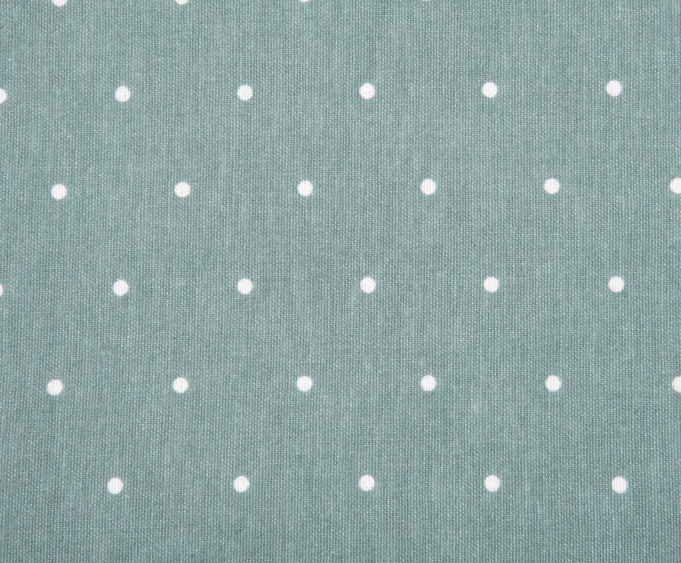 Flanell-Wendebettwäsche Betty, gepunktet, Webart: Flanell Flanell ist ein s, Salbeigrün, Weiß, 240 x 220 cm + 2 Kissen 80 x 80 cm