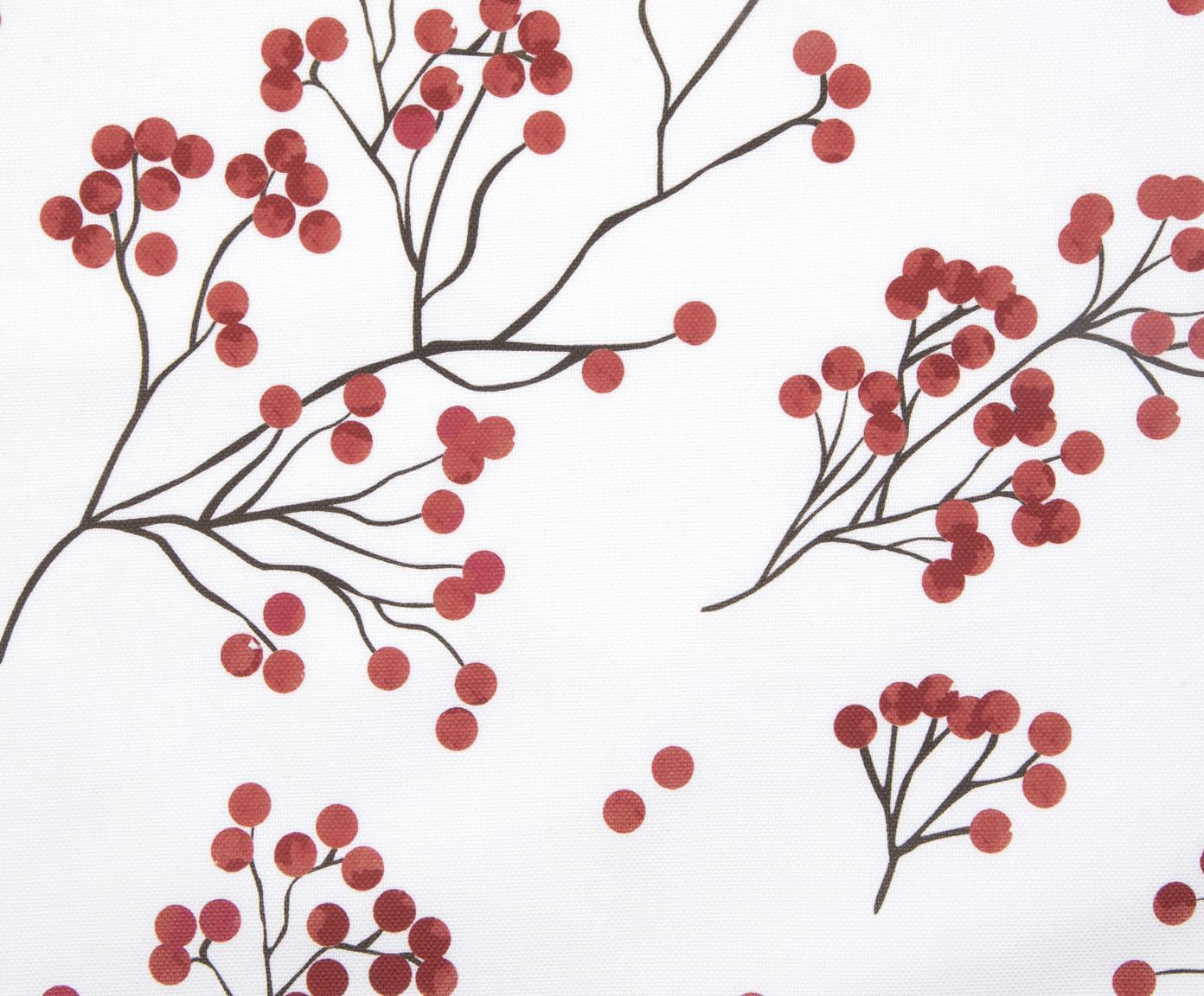 Kissenhülle Berry mit Winterzweigen, Baumwolle, Rot, Schwarz, Weiß, 40 x 40 cm