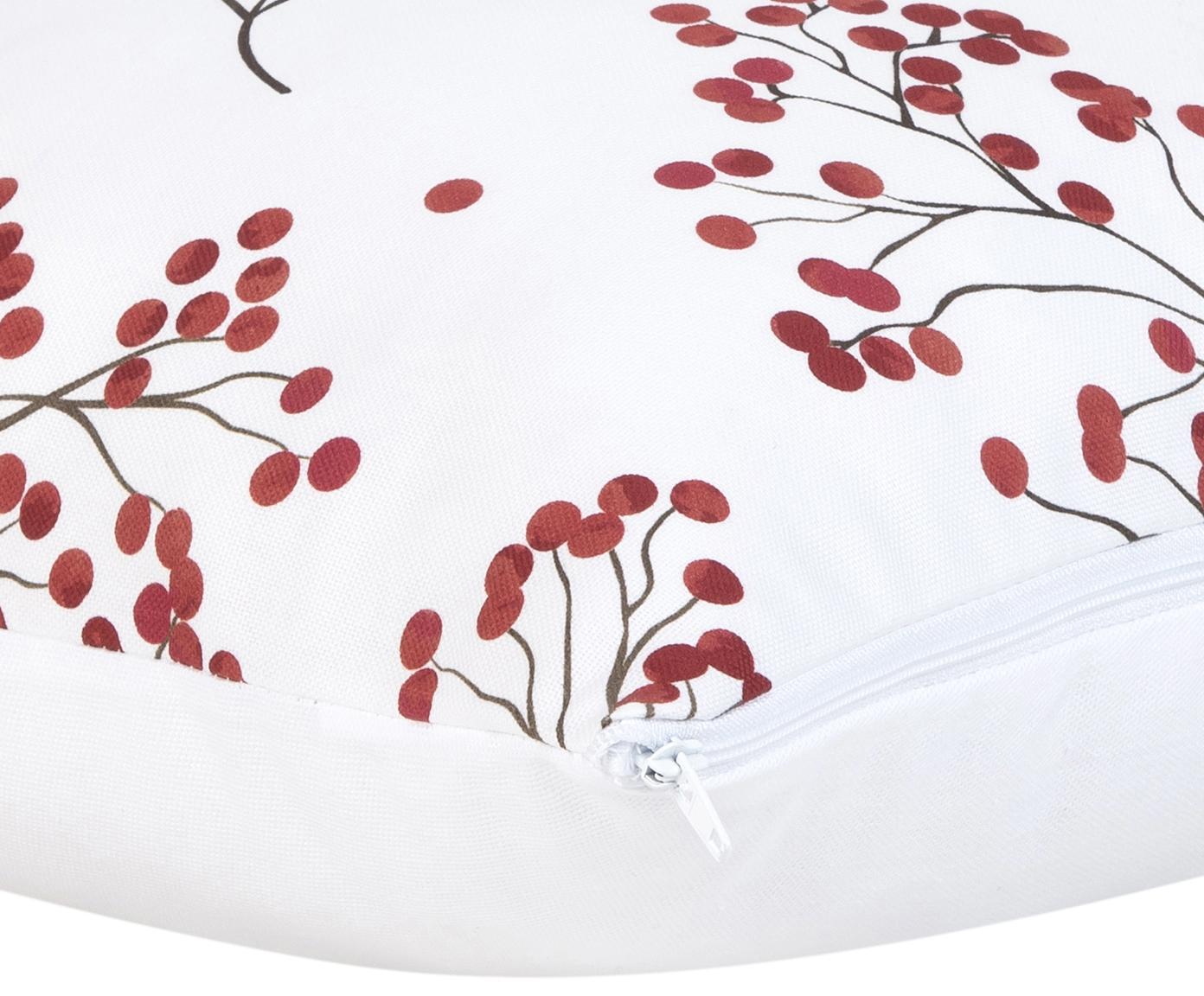 Kissenhülle Berry mit Winterzweigen, 100% Baumwolle, Rot, Schwarz, Weiss, 50 x 50 cm