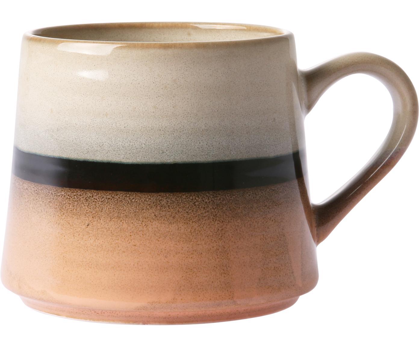 Handgemachte Teetasse 70's, Keramik, Pfirsichfarben, Grau, Schwarz, 11 x 9 cm
