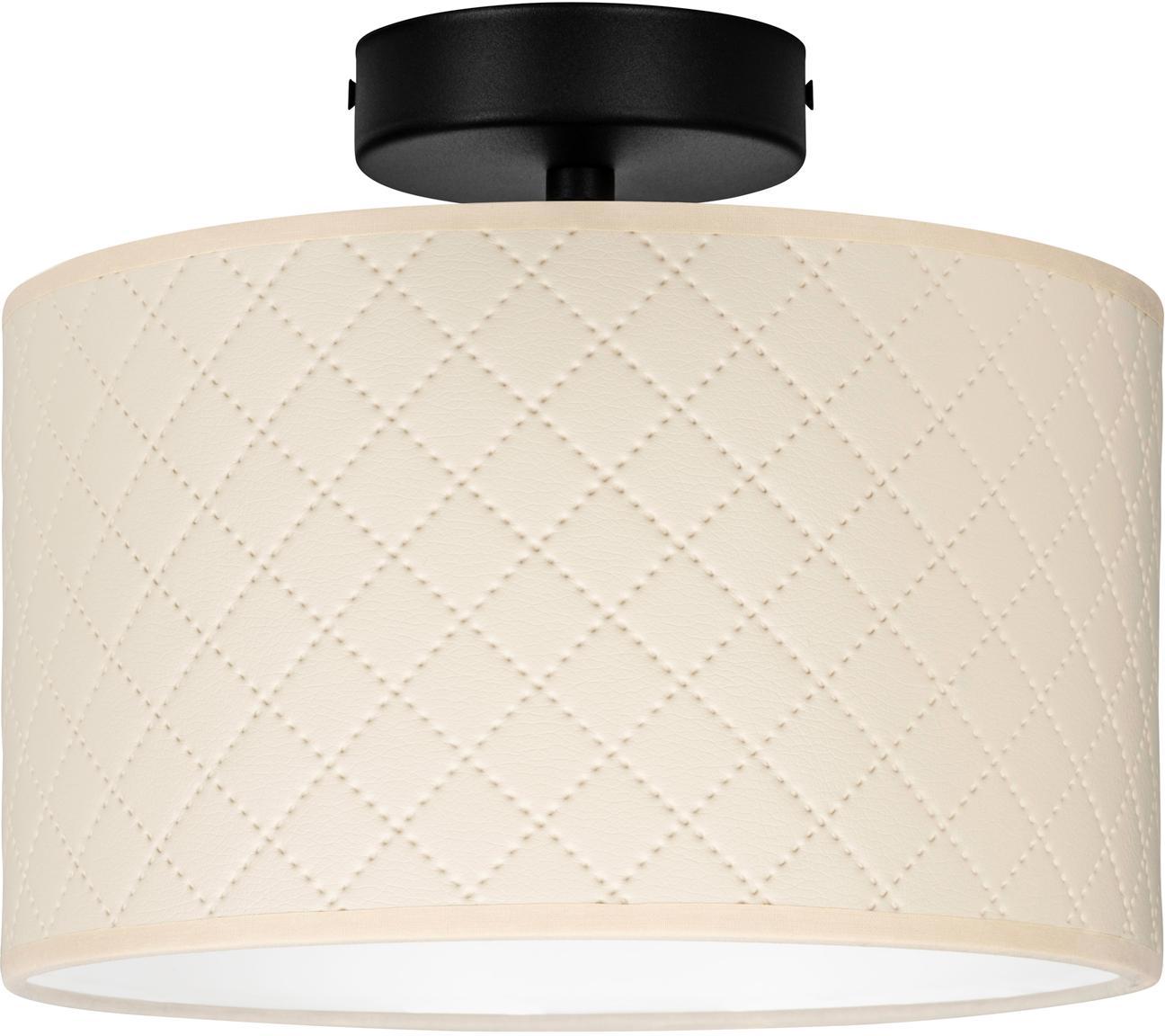 Lampa sufitowa ze skóry Trece, Kremowy, czarny, Ø 25 x W 20 cm