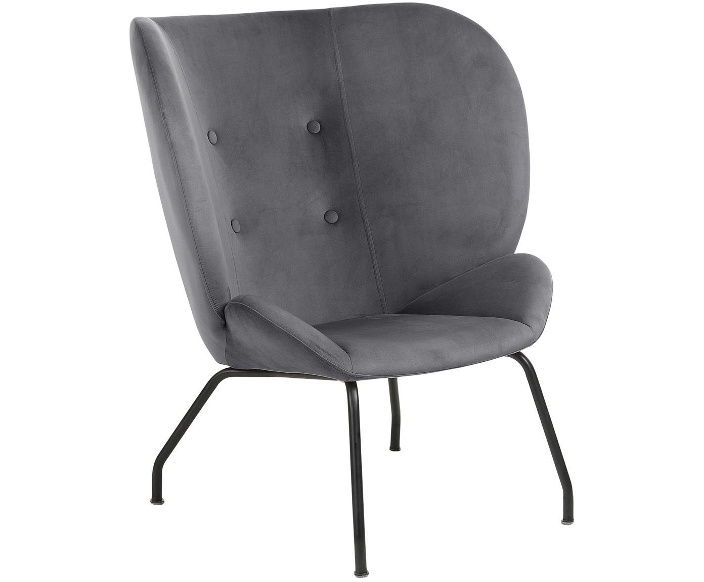 Fluwelen lounge fauteuil Vernen, Fluweel, metaal, Donkergrijs, zwart, B 90 x D 82 cm