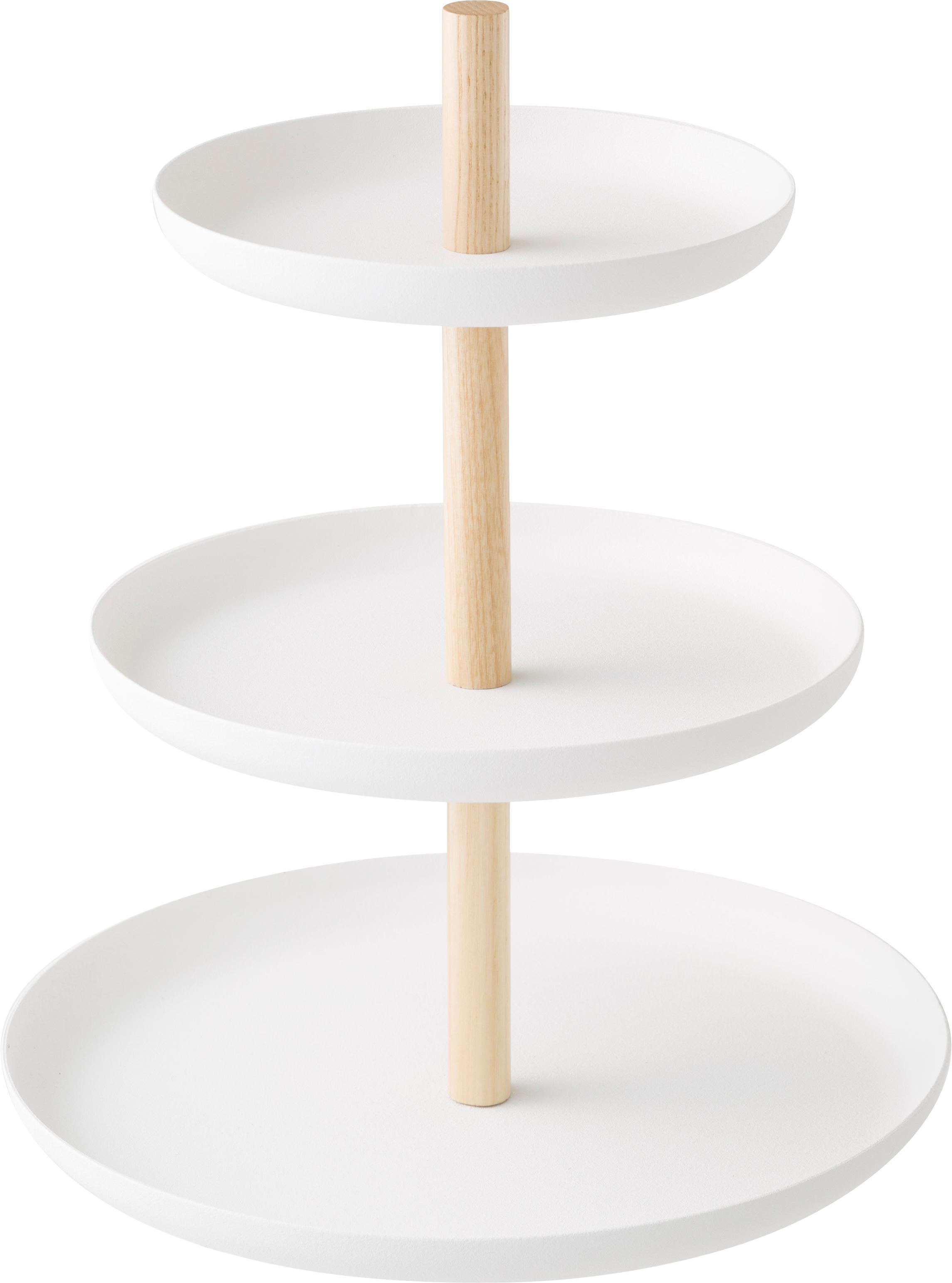 Alzatina Tosca, Ripiani: acciaio verniciato, Asta: legno, Bianco, marrone, Larg. 20 x Alt. 24 cm