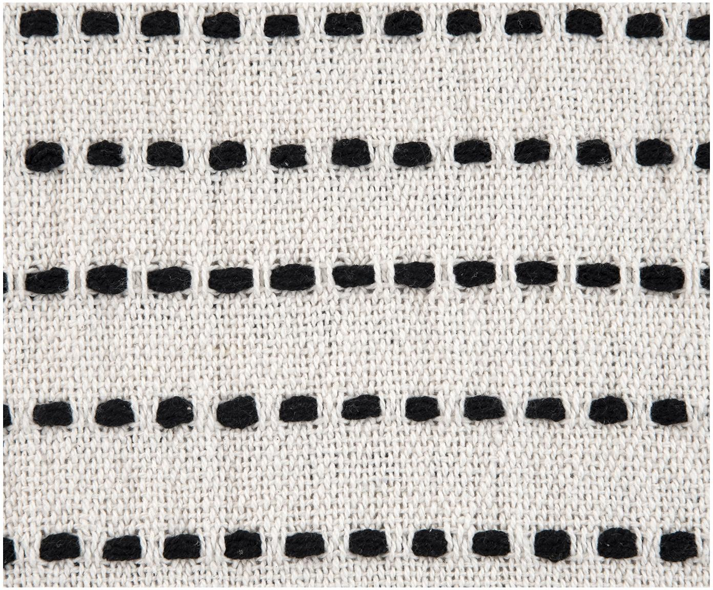Pled z pomponami Molly, Bawełna, Czarny, beżowy, S 130 x D 170 cm