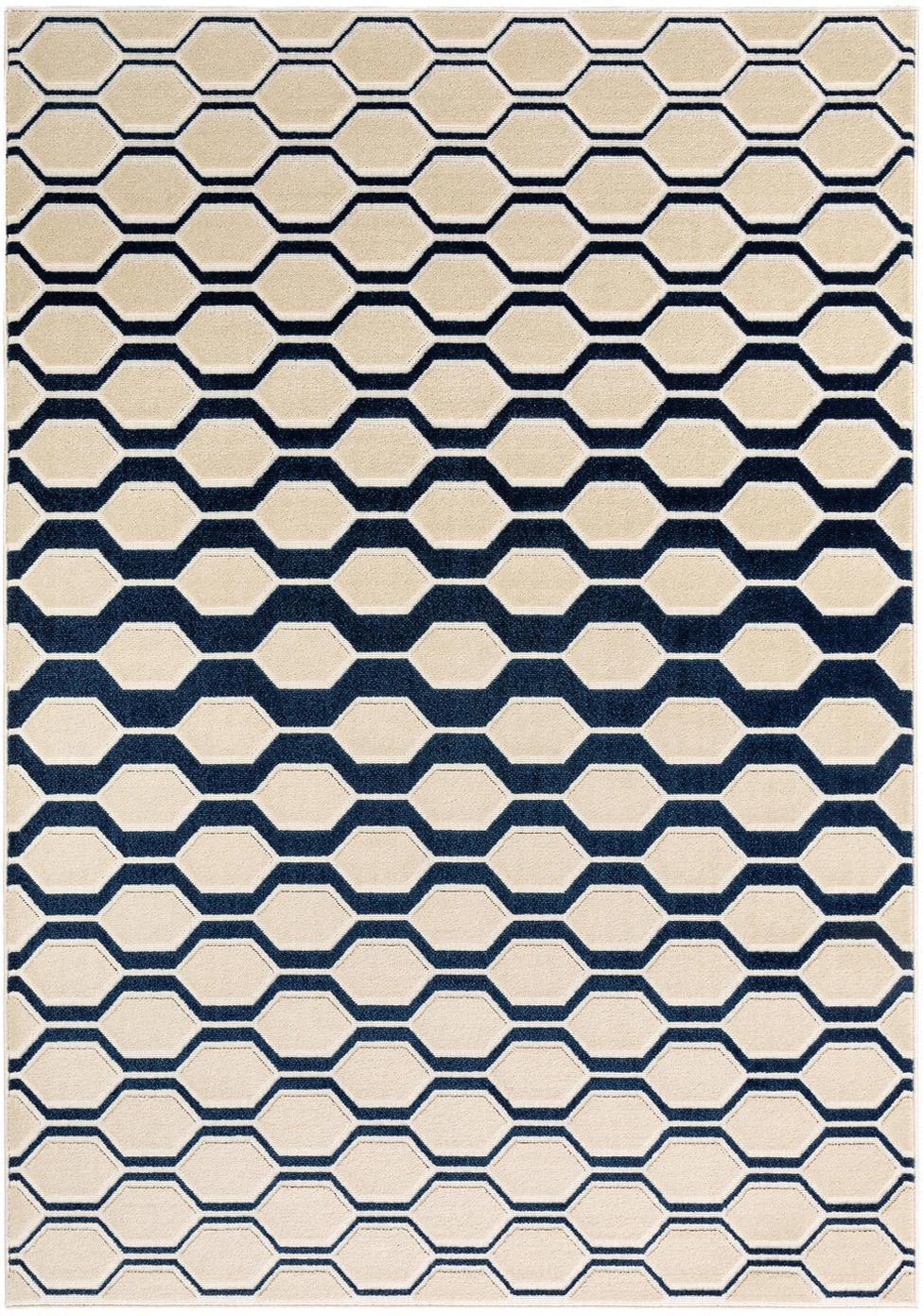 Alfombra texturizada Diamond Key, Parte superior: polipropileno, Reverso: 70%yute, 30%látex, Azul oscuro, beige, An 120 x L 170 cm (Tamaño S)