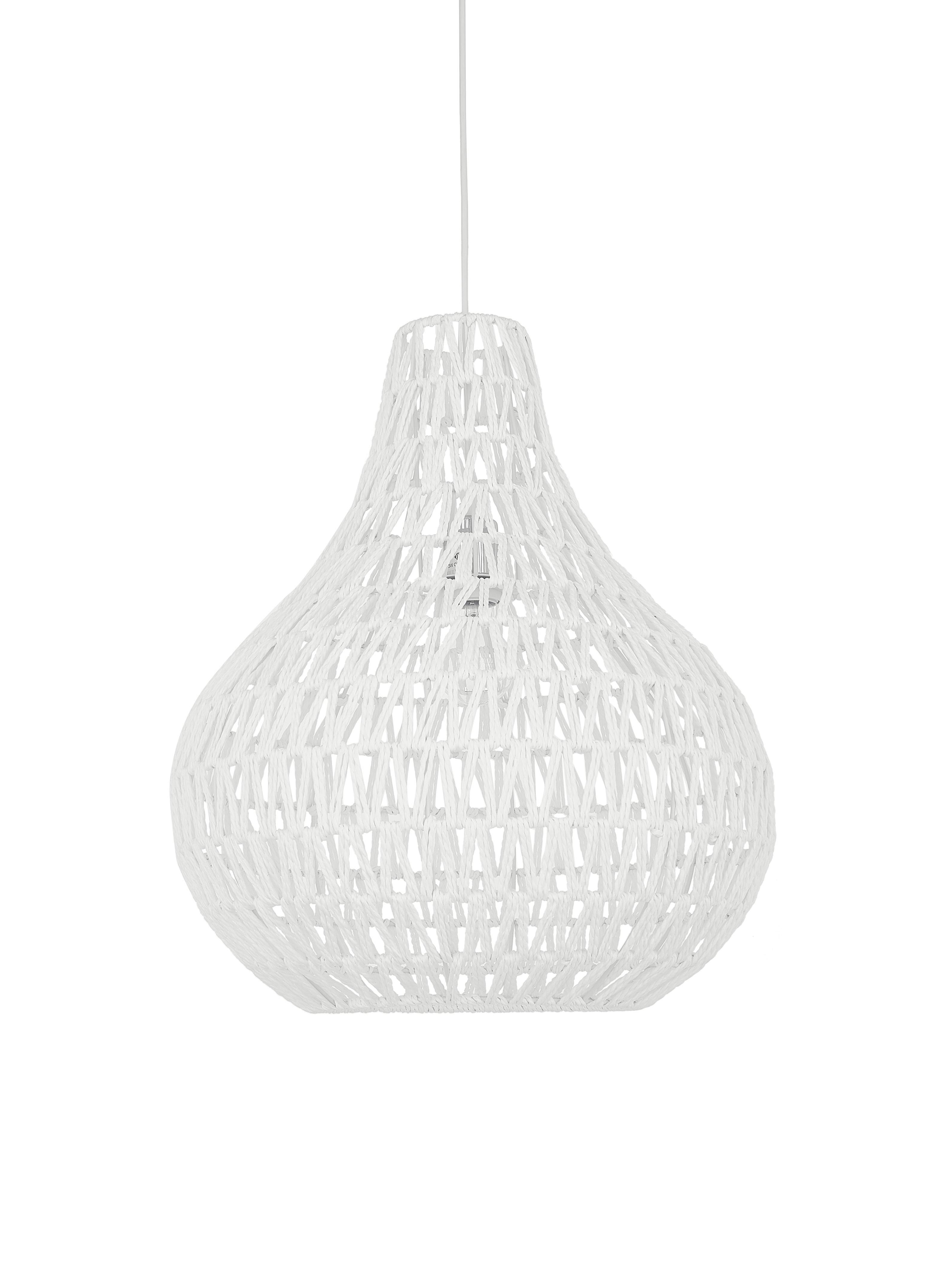 Lámpara de techo de papel Cable Drop, Tela, metal, Blanco, Ø 45 x Al 51 cm
