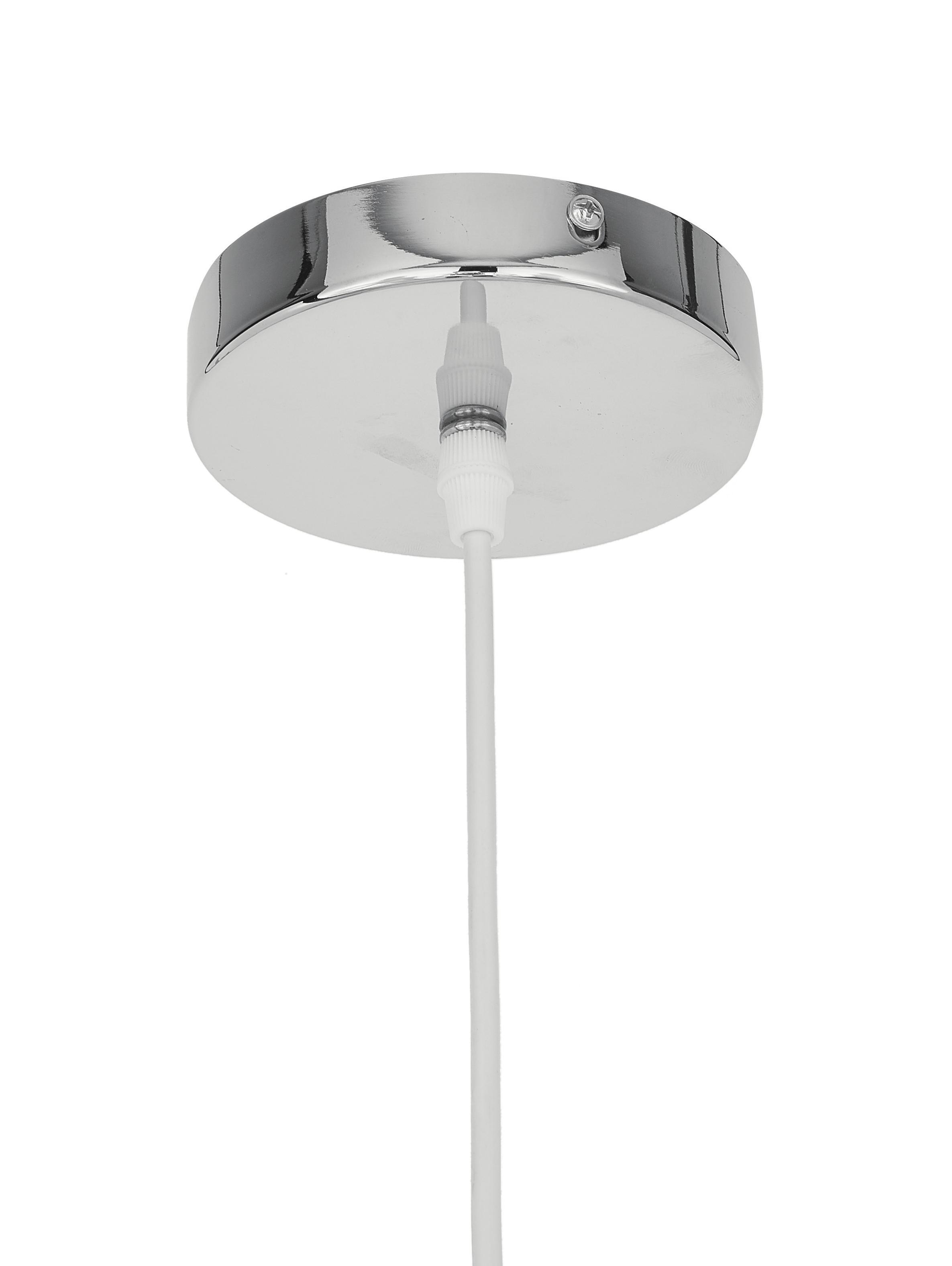 Pendelleuchte Cable Drop aus Stoff, Textil, Metall, Weiß, Ø 45 x H 51 cm