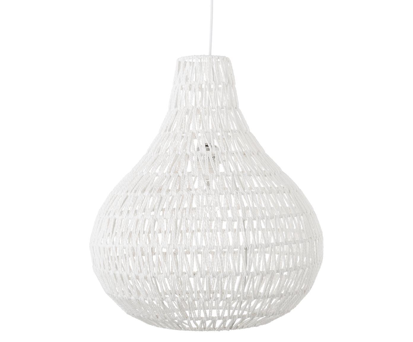 Hanglamp Cable van stof, Textiel, metaal, Wit, Ø 45 x H 51 cm
