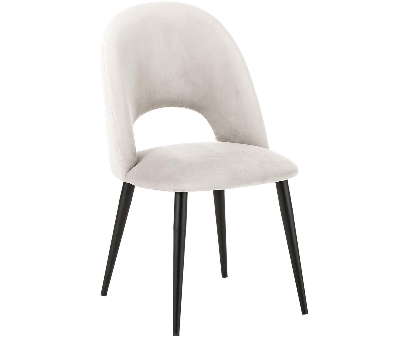 Fluwelen stoel Rachel, Bekleding: fluweel (hoogwaardig poly, Poten: gepoedercoat metaal, Beige, B 53 x D 57 cm