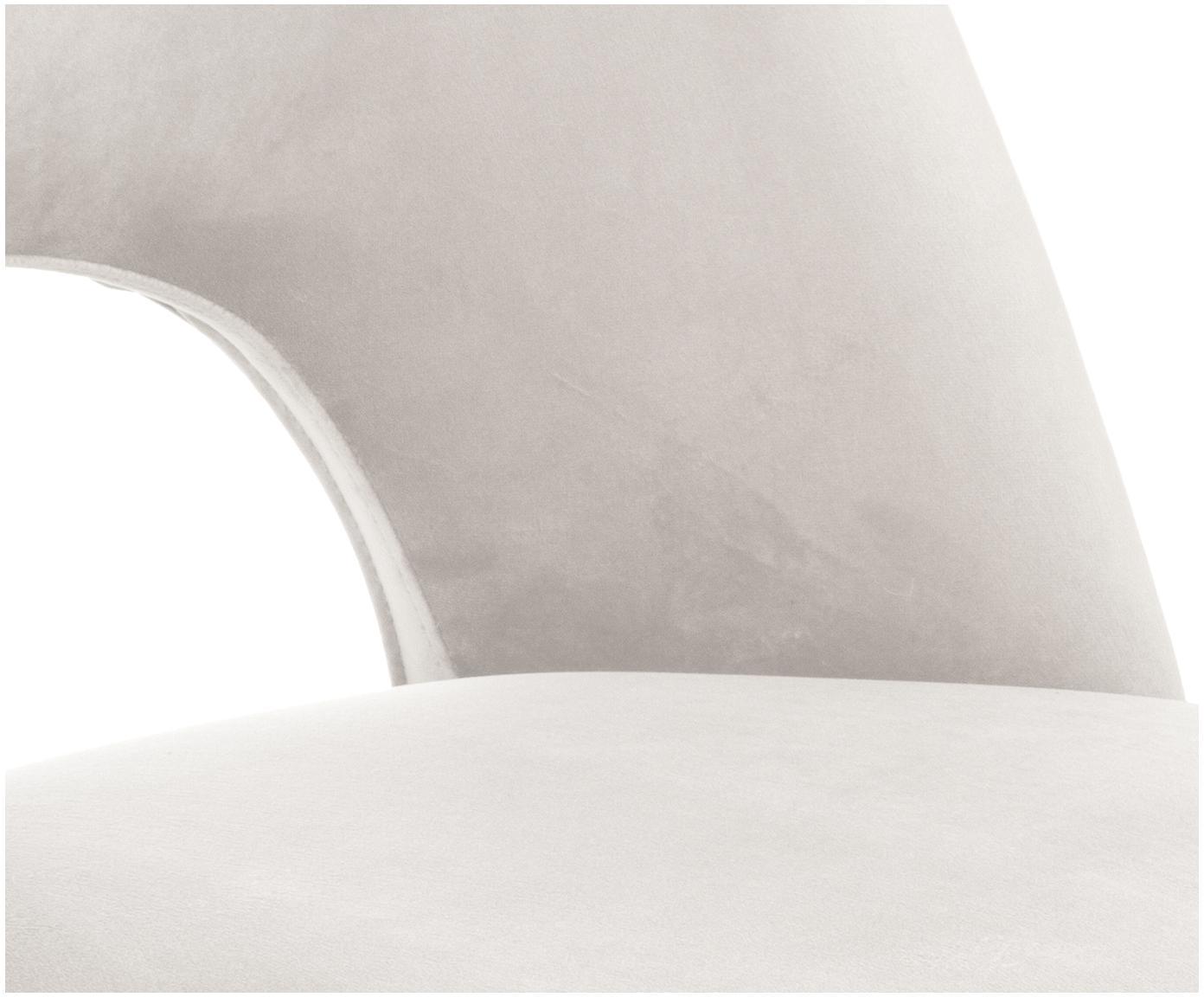Sedia imbottita in velluto Rachel, Rivestimento: velluto (copertura in pol, Gambe: metallo verniciato a polv, Velluto beige, Larg. 53 x Prof. 57 cm