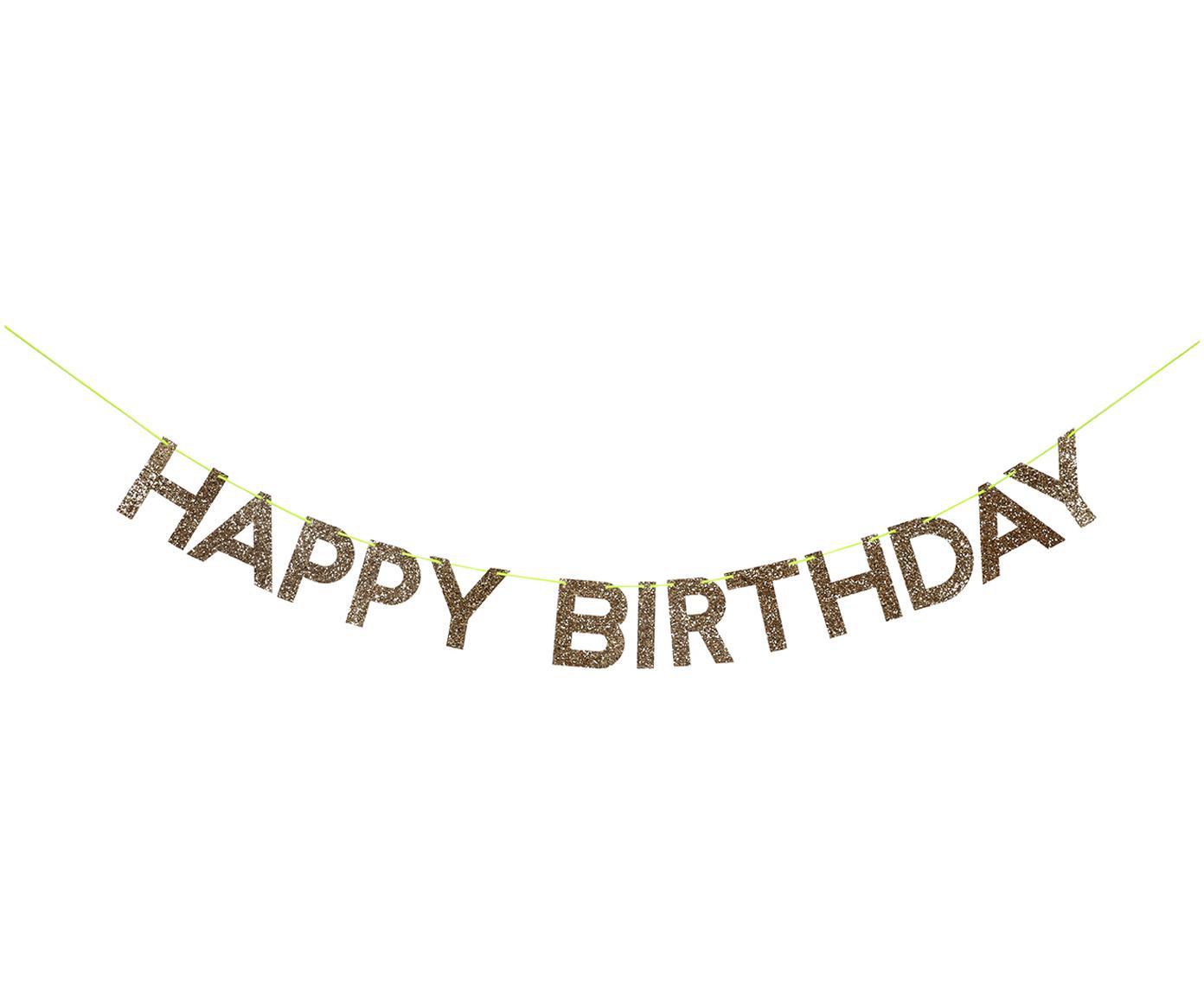 Guirnalda Happy Birthday, Papel, cartón, hilos, Dorado, An 28 x Al 13 cm