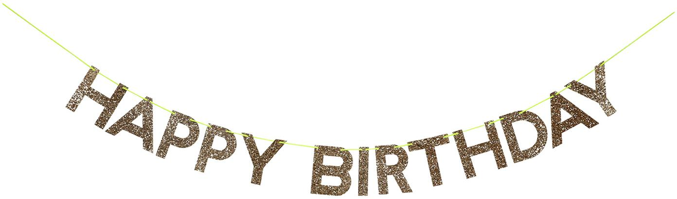 Girlande Happy Birthday, Papier, Karton, Faden, Goldfarben, 28 x 13 cm