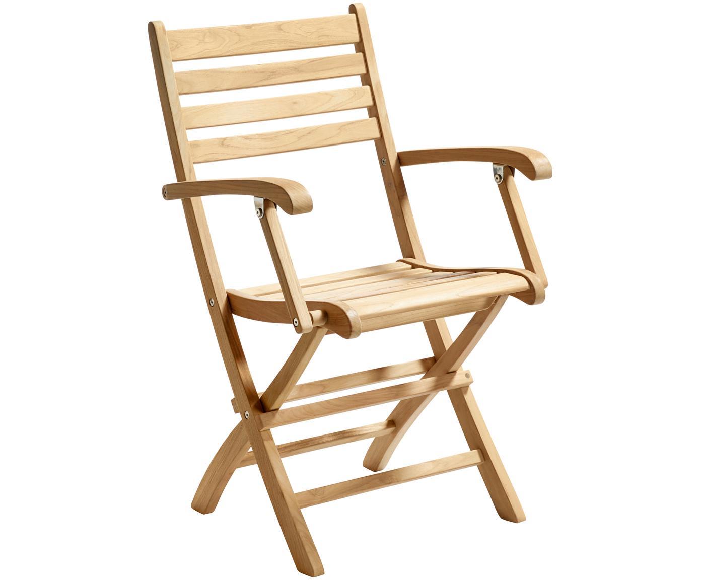 Sedia da giardino in legno York, Legno di teak, sabbiato Possiede certificato V-legal, Teak, Larg. 51 x Alt. 86 cm
