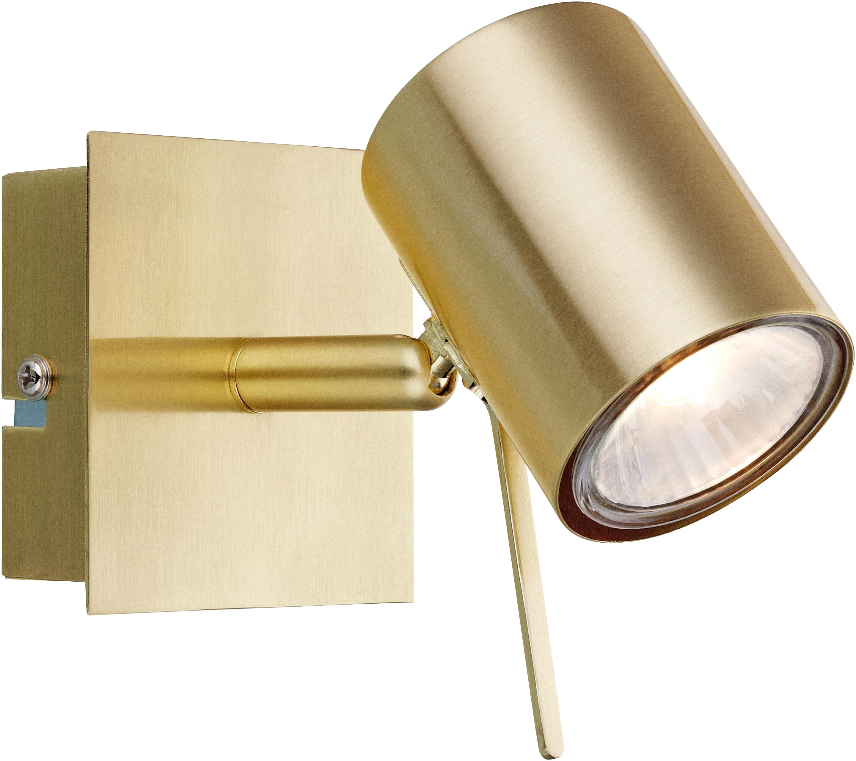 Kinkiet LED z wtyczką Hyssna, Metal mosiądzowany, szczotkowany, Mosiądz, S 8 x W 9 cm