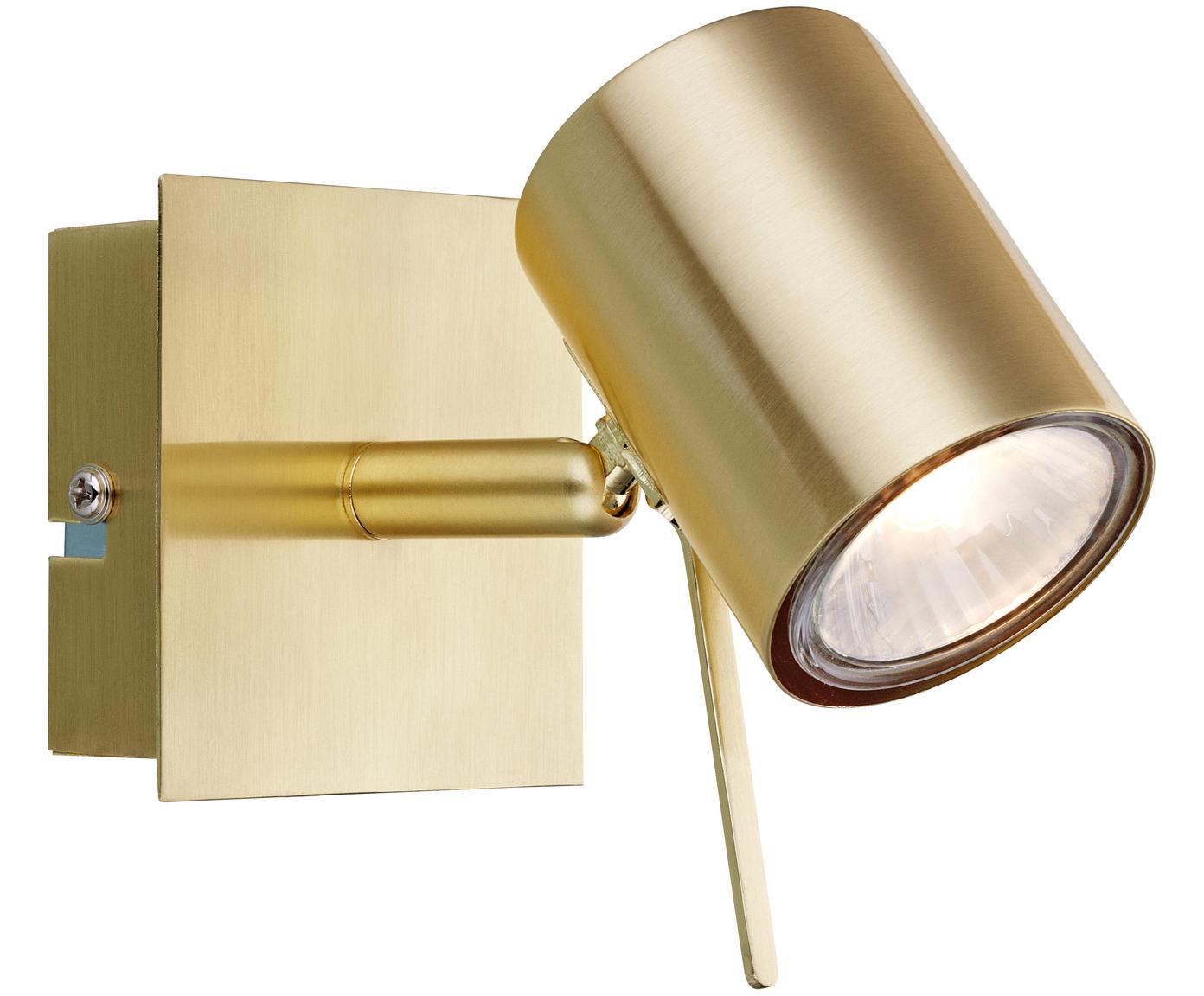 Wandleuchte Hyssna mit Stecker, Metall, vermessingt, gebürstet, Messing, 8 x 9 cm