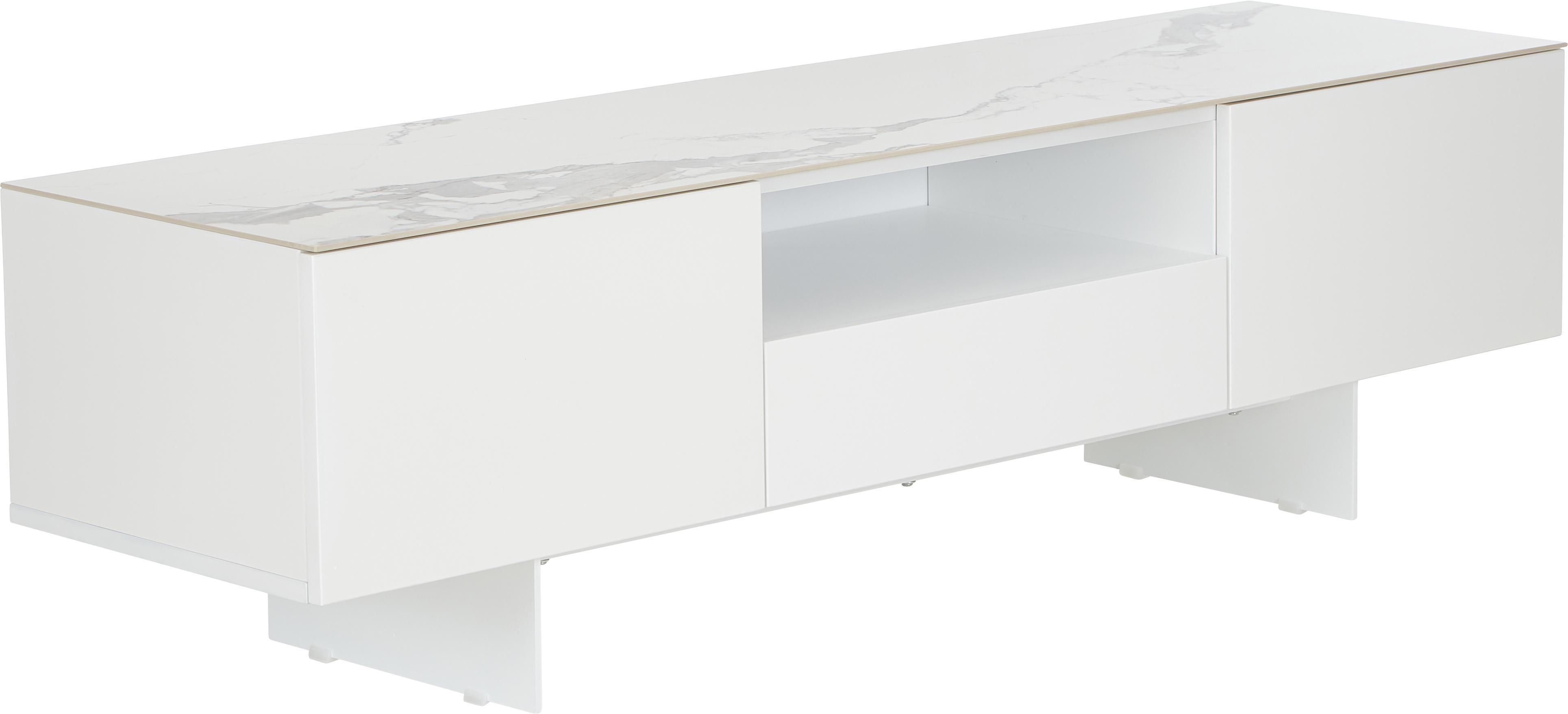 Mobile TV basso con superficie effetto marmo Fiona, Piedini: metallo verniciato a polv, Mensola: ceramica, Corpo: bianco opaco Piedini: bianco opaco Mensola: bianco marmorizzato, Larg. 160 x Alt. 46 cm