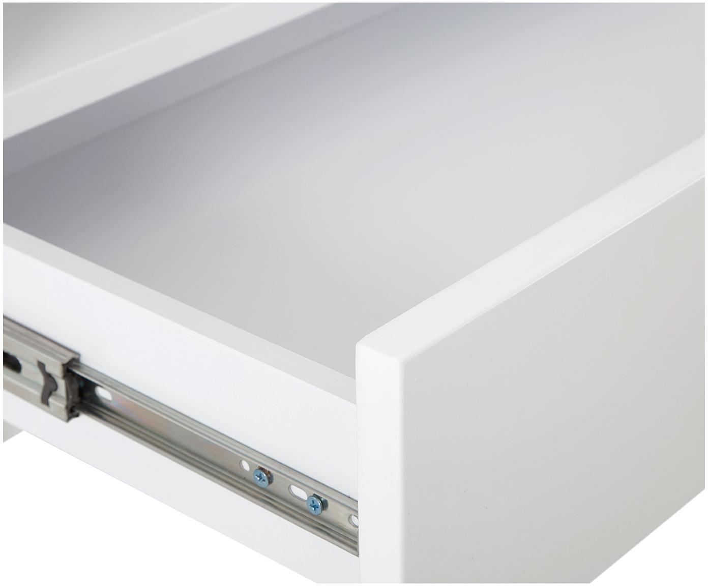 Tv-meubel Fiona met oppervlak in marmerlook, Frame: gelakt MDF, Poten: gepoedercoat metaal, Plank: keramiek, Frame: mat wit poten: mat wit plank: wit, gemarmerd, 160 x 46 cm