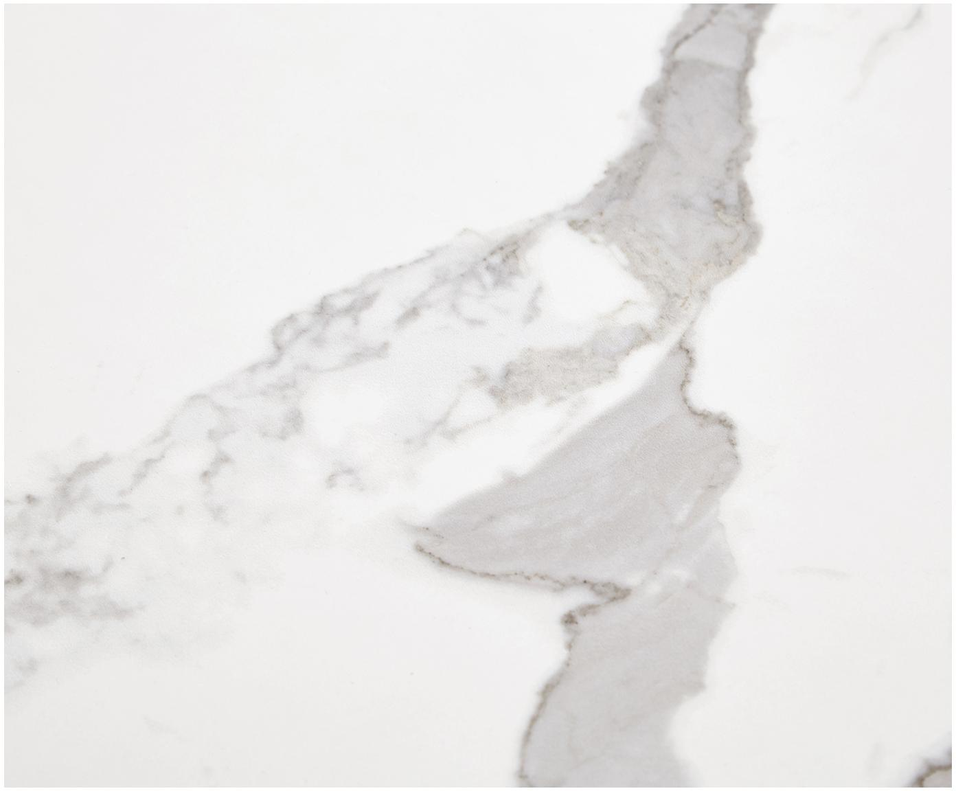 Szafka RTV z powierzchnią imitującą marmur Fiona, Korpus: płyta pilśniowa średniej , Nogi: metal malowany proszkowo, Korpus: biały, matowy Nogi: biały, matowy Półka: biały, marmurowy, S 160 x W 46 cm