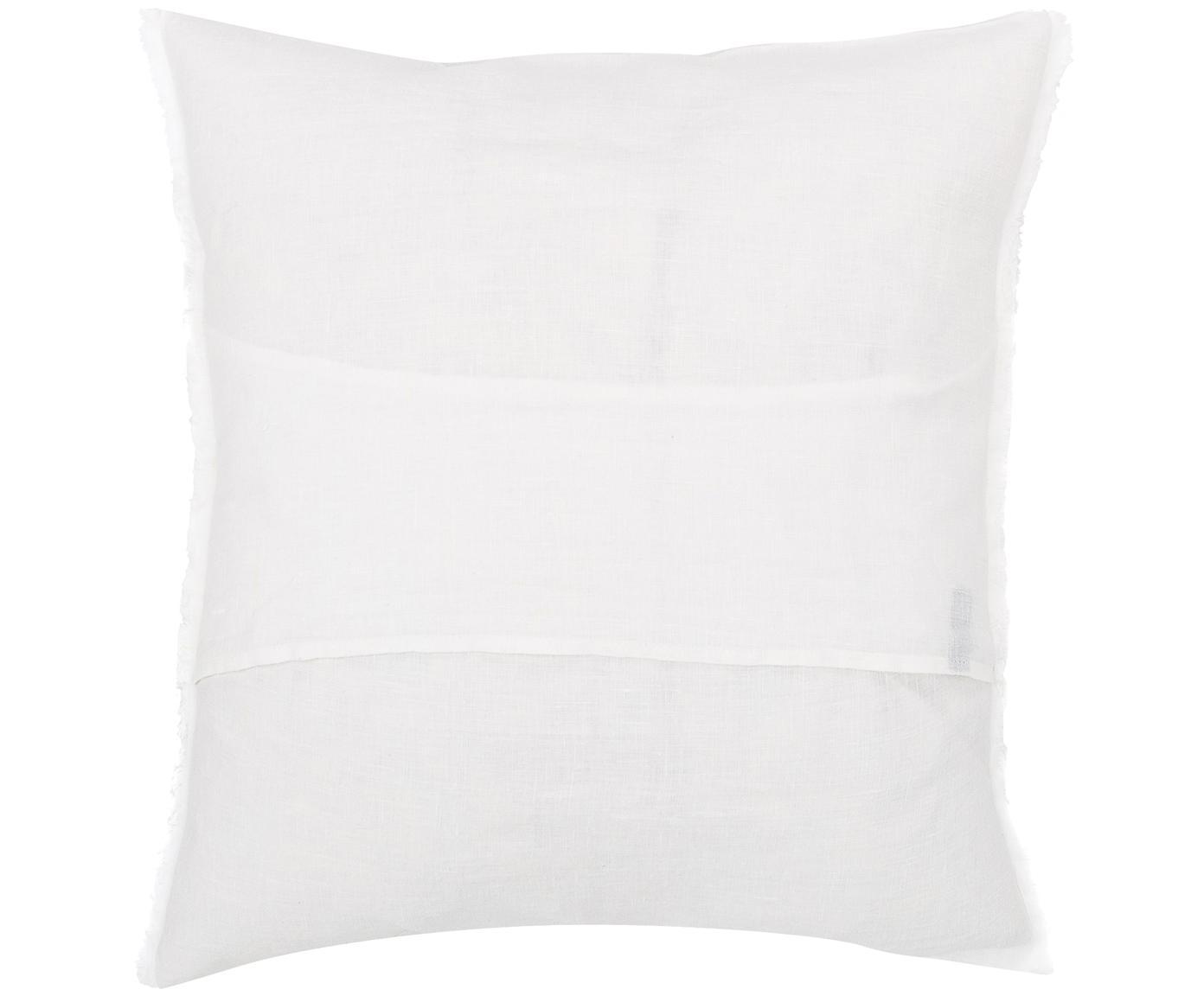 Poduszka z wypełnieniem z lnu Sunshine Fringe, Biały, S 50 x D 50 cm