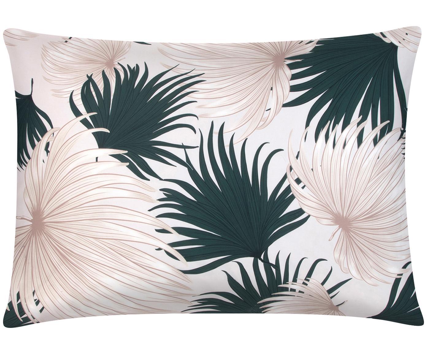 Funda de almohada de satén Aloha, Beige, verde, An 50 x L 70 cm