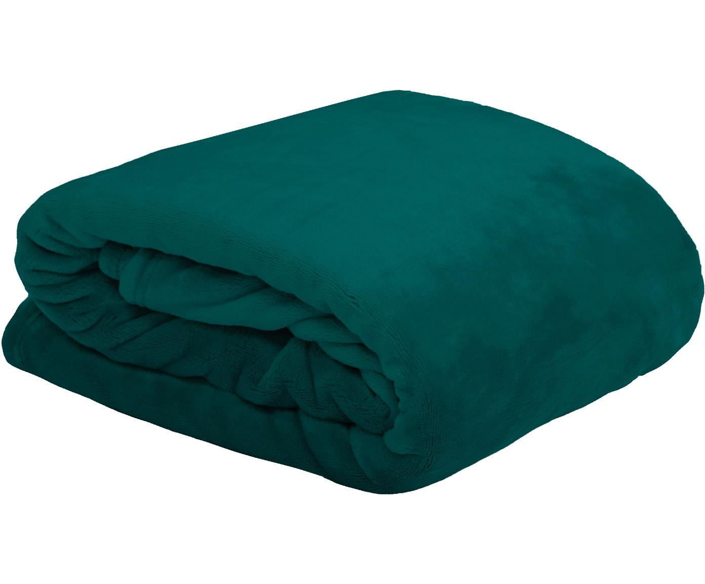 Weiches Fleece-Plaid Doudou in Grün, 100% Polyester, Grün, 130 x 160 cm