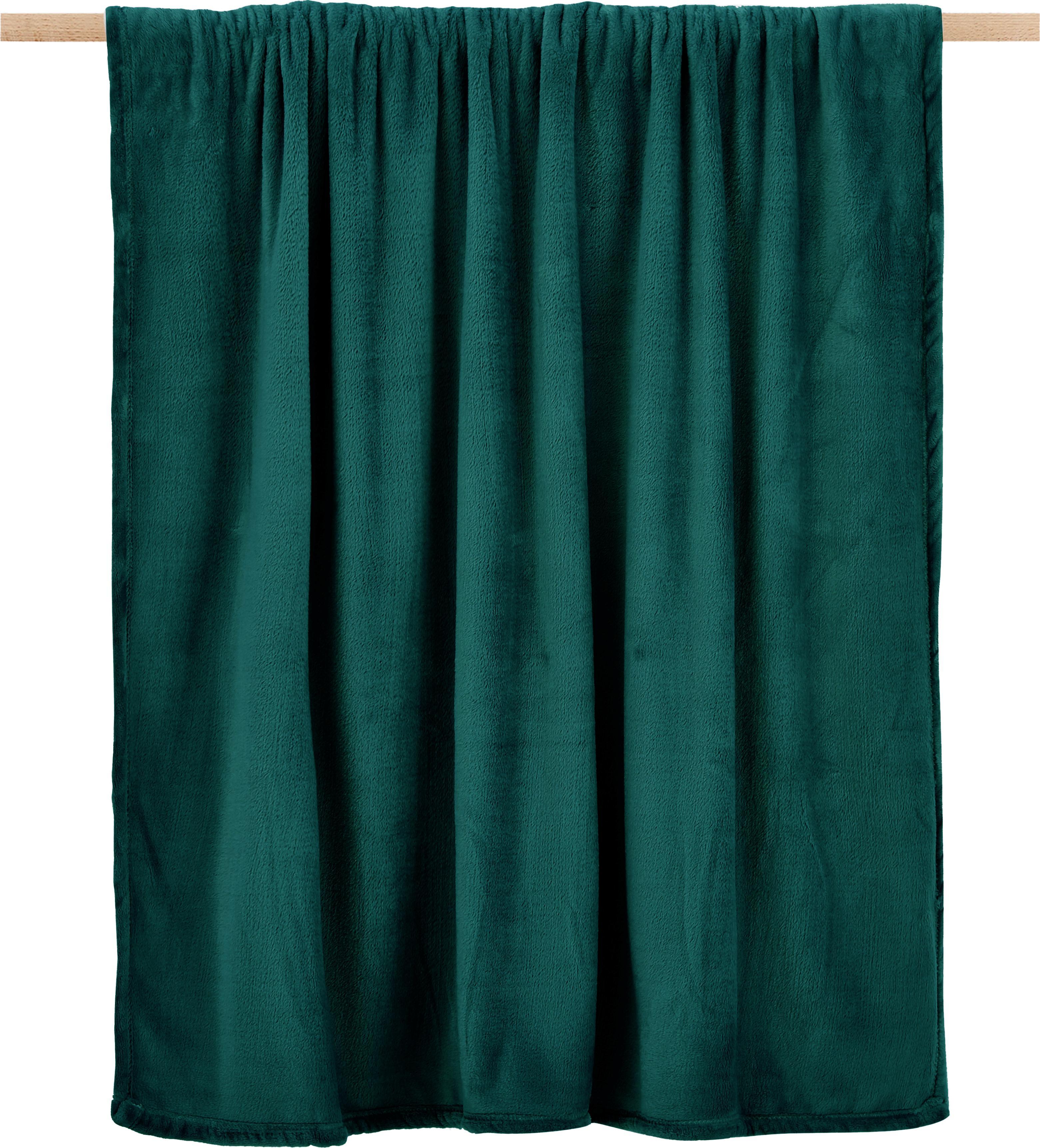 Plaid morbido Doudou, 100% poliestere, Verde, Larg. 130 x Lung. 160 cm